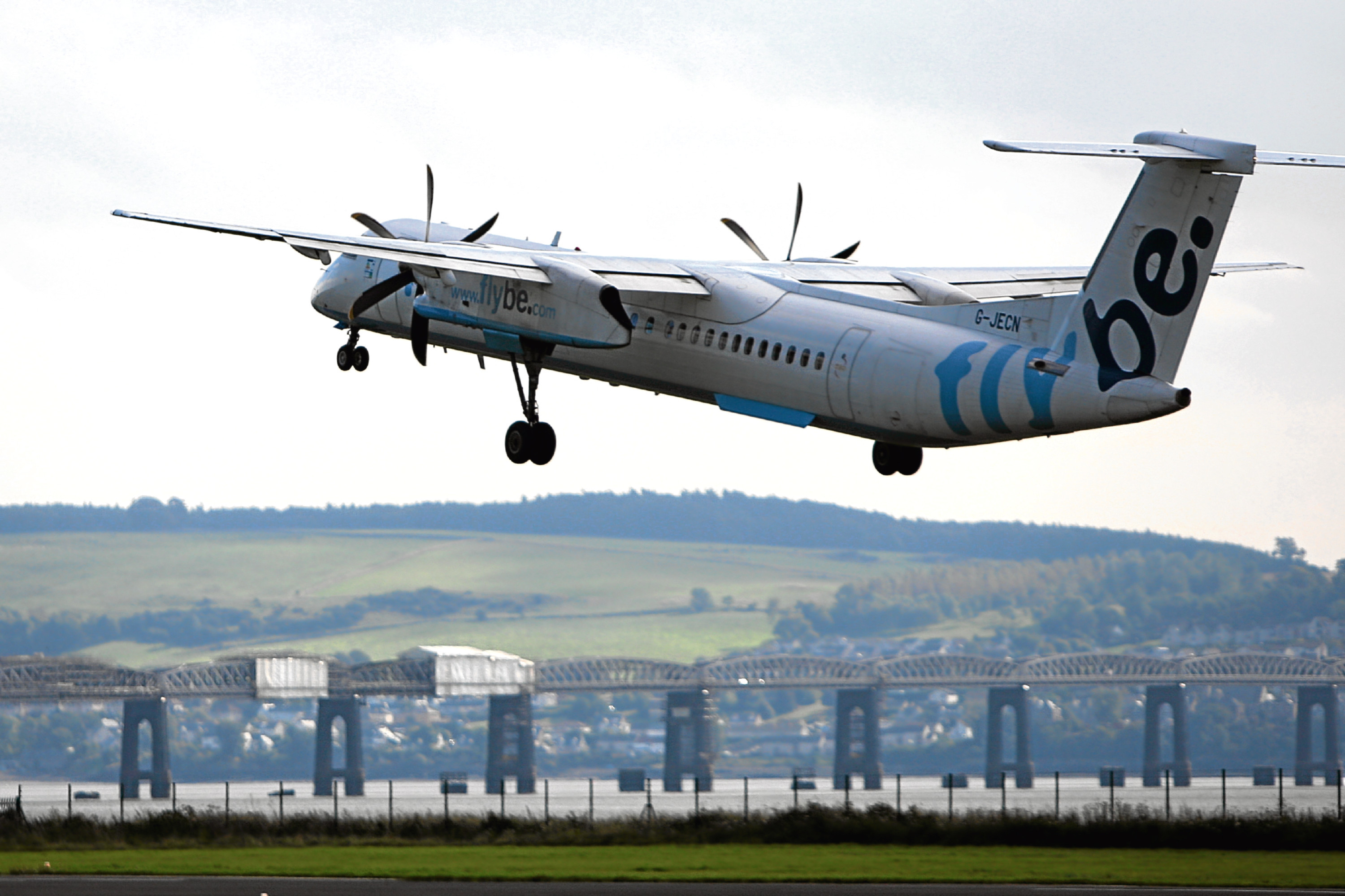 A Flybe aircraft takes off from Dundee Airport