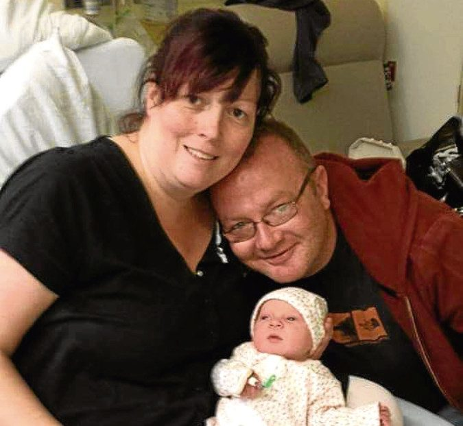 Nick with Claire and baby Ailsa. Nick died suddenly of a heart attack.