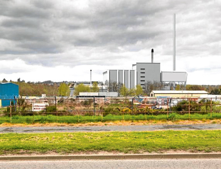 How the new incinerator could look, as seen from Drumgeith Road.