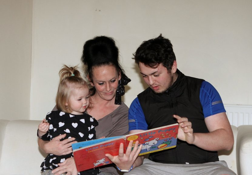 Avril Fearn with her son Damien and granddaughter Meila.