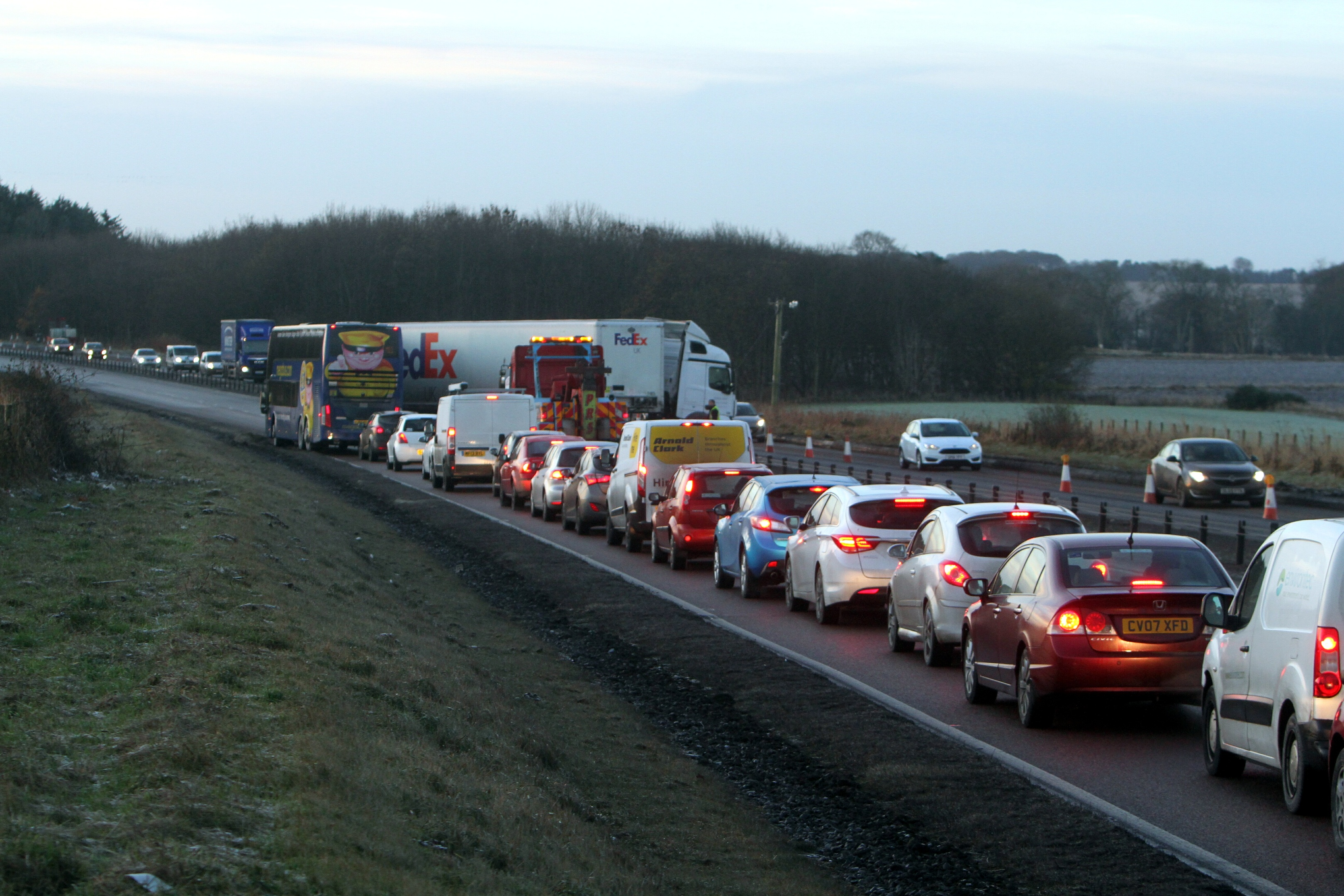The articulated lorry ended up jackknifed, across three lanes of traffic at about 5.25am.