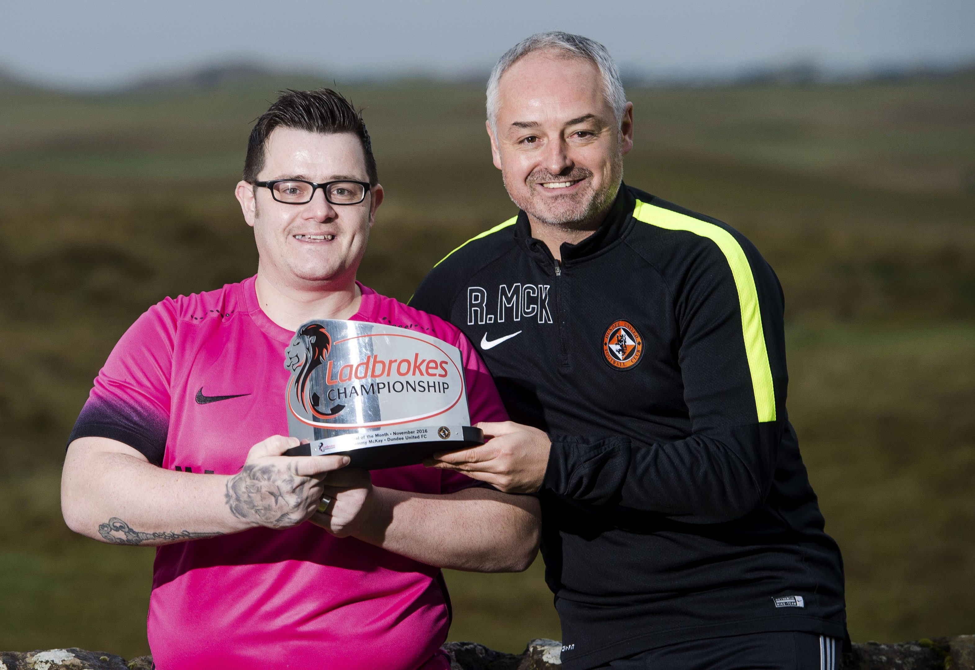 Tommy McKay received goal of the month award for his chip at Tannadice.