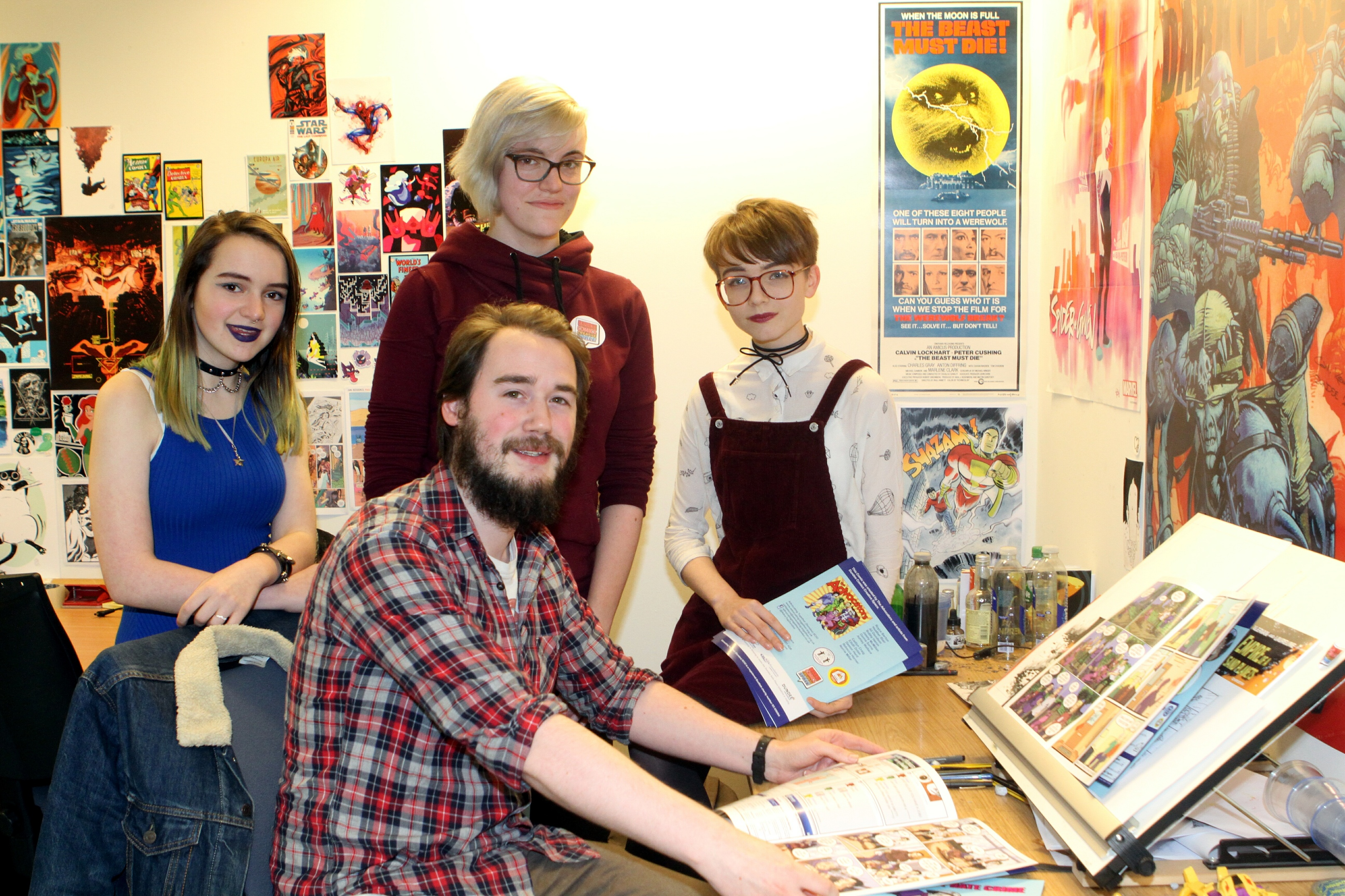 Pictured at the launch of the Tackling Disability Hate Crime comic are (from left) Caitlyn Craig, artist Norie Millar, artist Rebecca Horner and Eilidh Dolan.