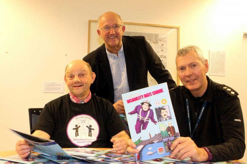 At the launch are (from left) advocator Bobby Heron, David Dorward of the Rank Foundation and Chief Inspector Ian Scott.