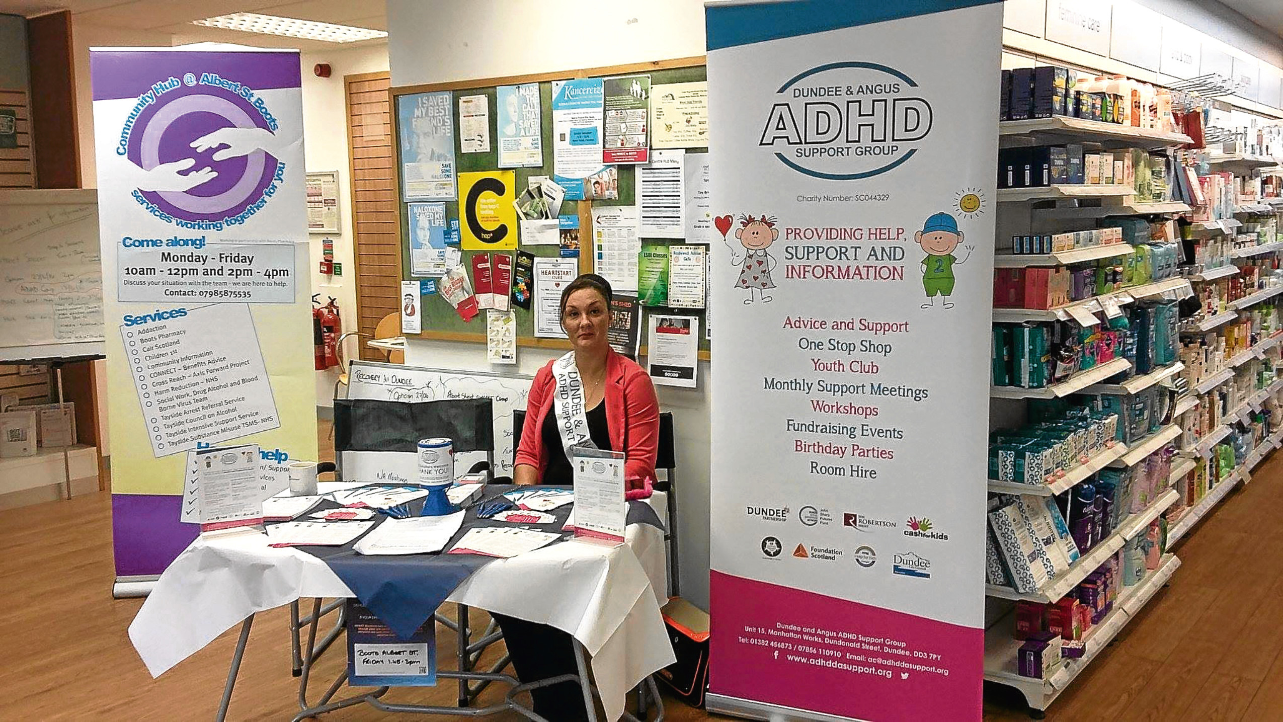 Vickie Lyon at a drop-in stall in the Boots Pharmacy at Stobswell promoting the services of ADHD