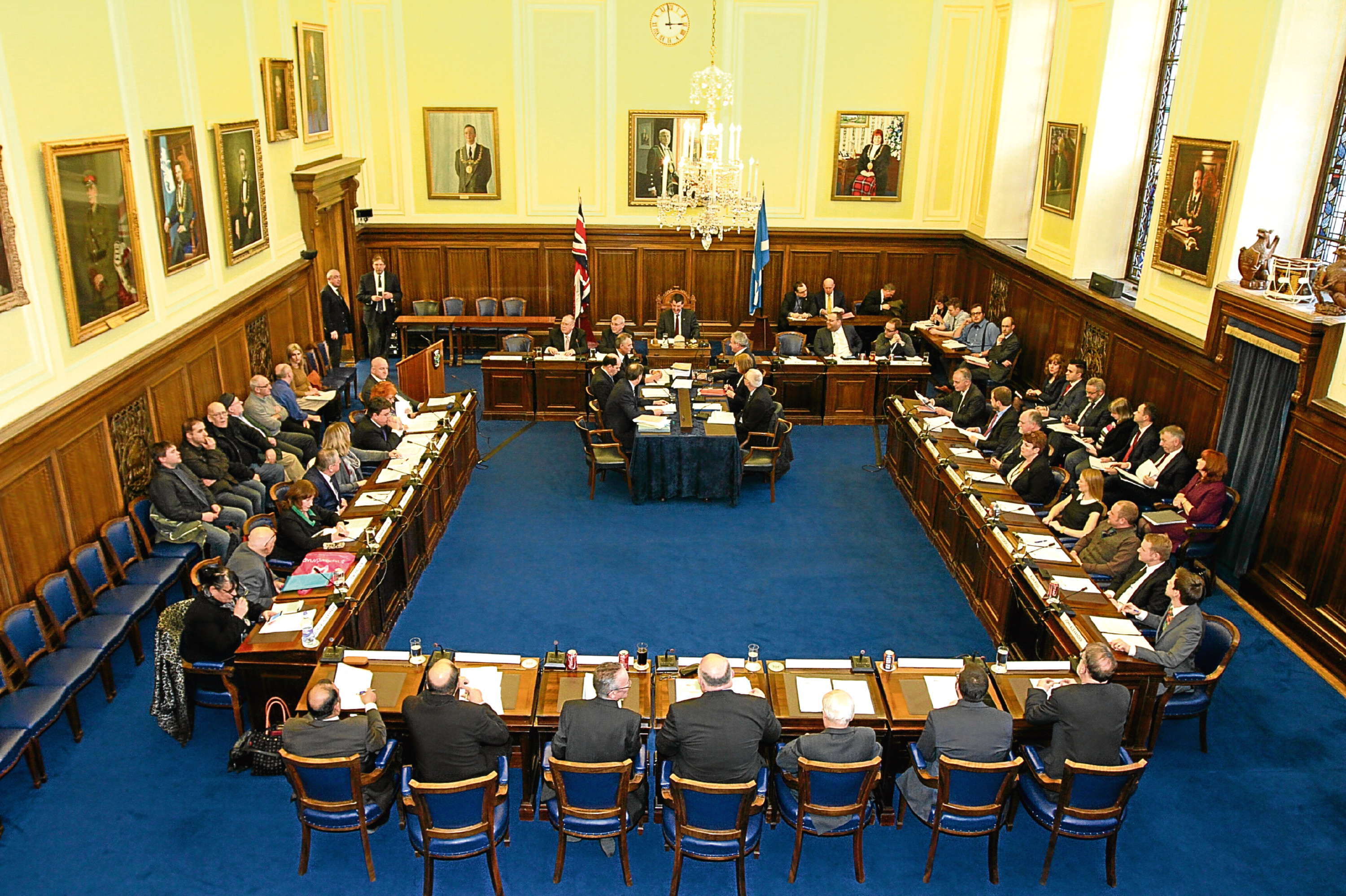 Councillors in the debating chamber for a budget meeting in February last year.