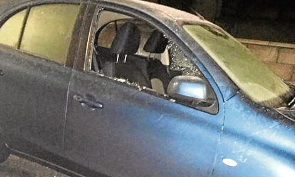 A picture posted on social media by a resident showing a car vandalised in Invergowrie.
