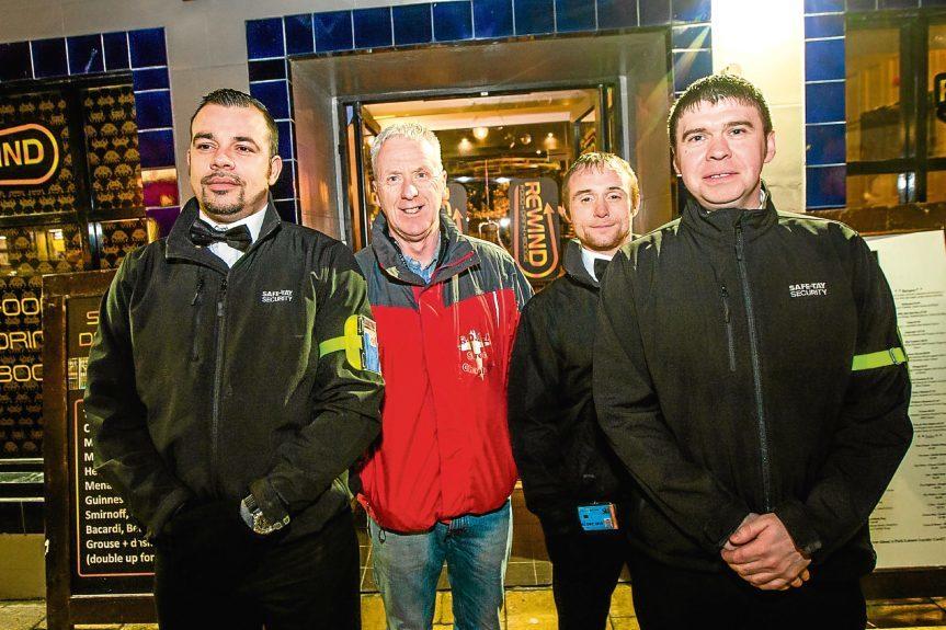 Andy with Rewind door staff, from left: Wullie Stewart, Chris Sinclair and Dwane Tucker.