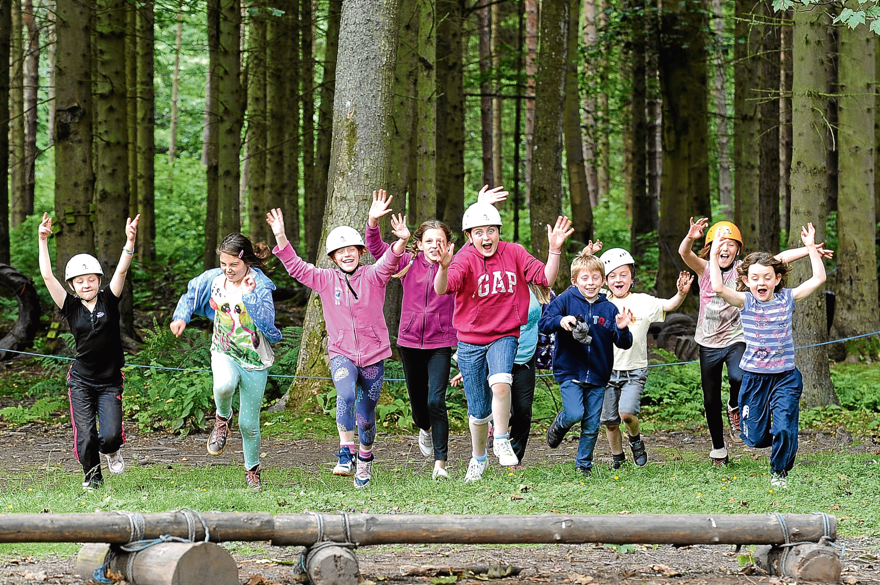 Kids enjoying the outdoor activities at Belmont Camp in Meigle