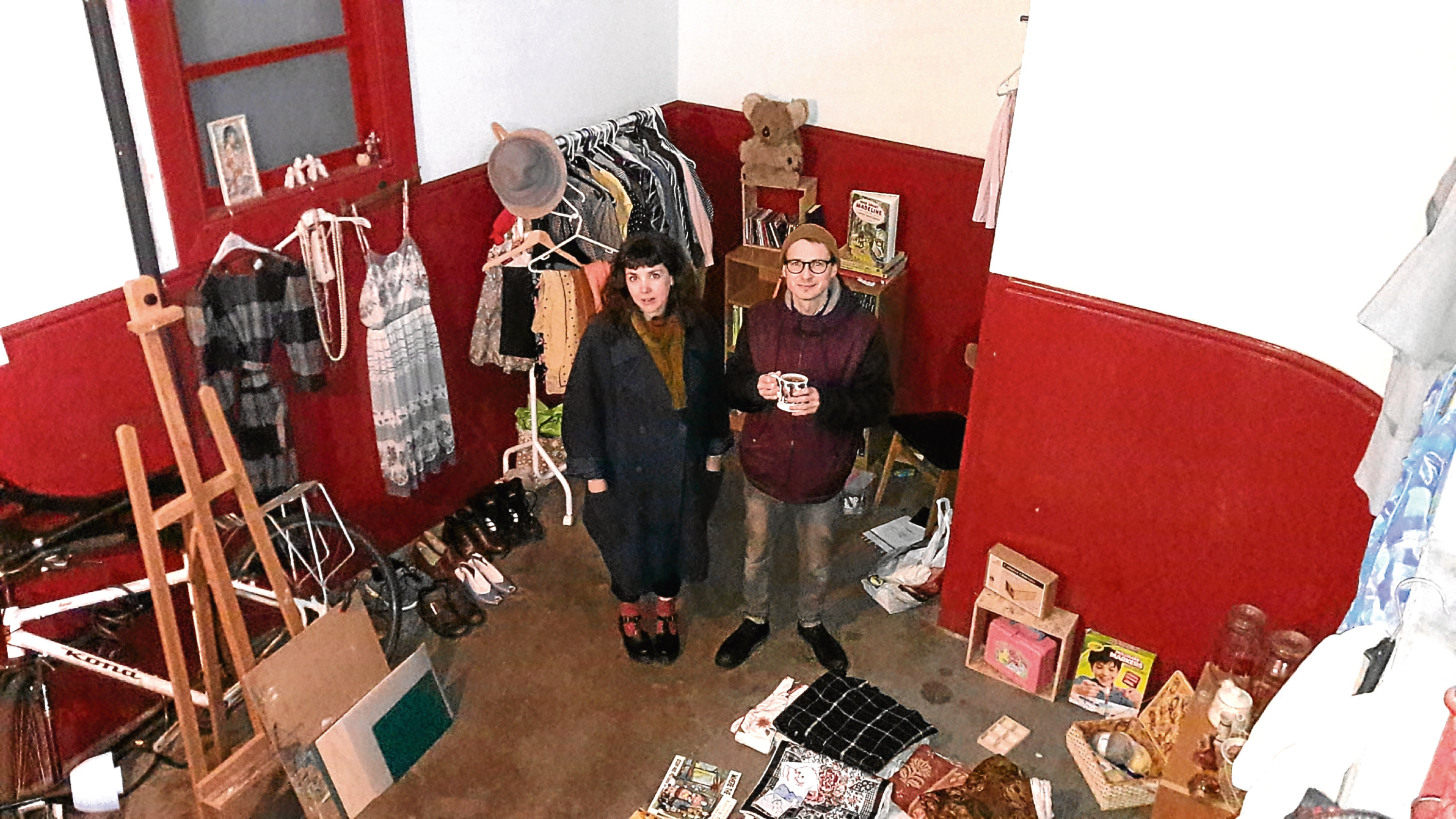 Tegan Moss and David McLeish came up with the unusual idea of using their close as the location for a pop-up shop.