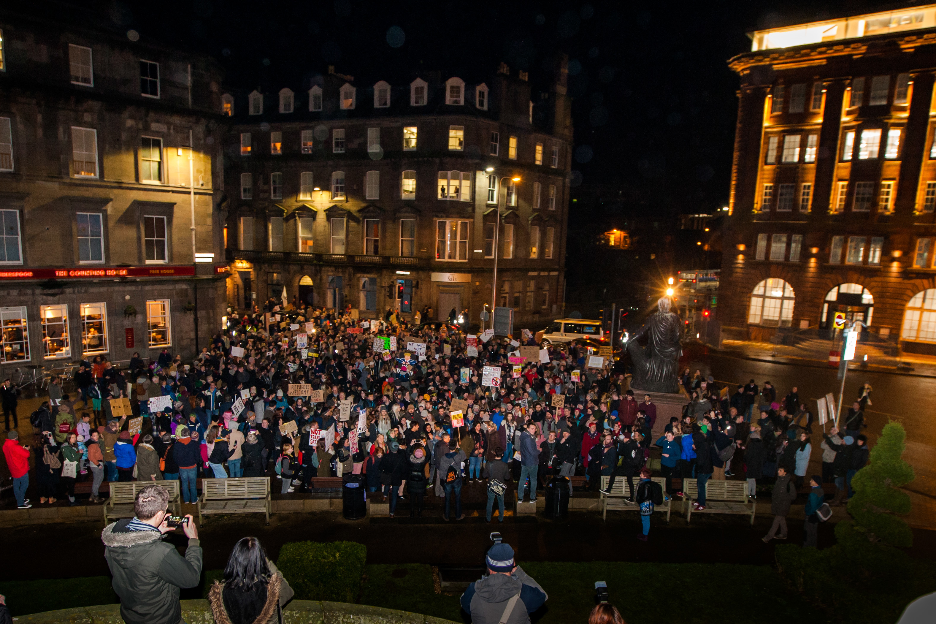 Some of the crowd in Dundee city centre last night.
