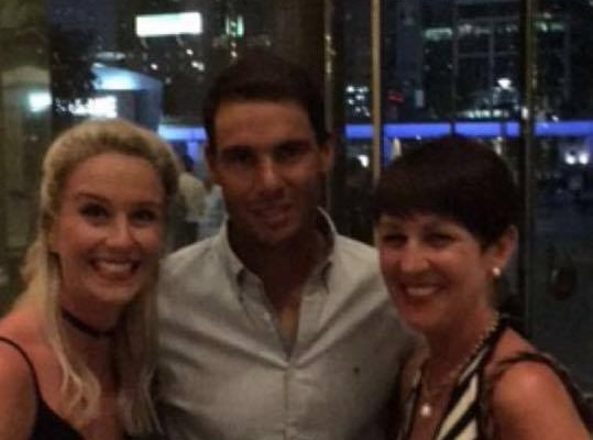 Kirsten Fairweather and Lesley Anderson with Rafa Nadal