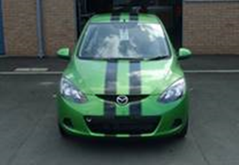 The eye-catching green Mazda that was taken.