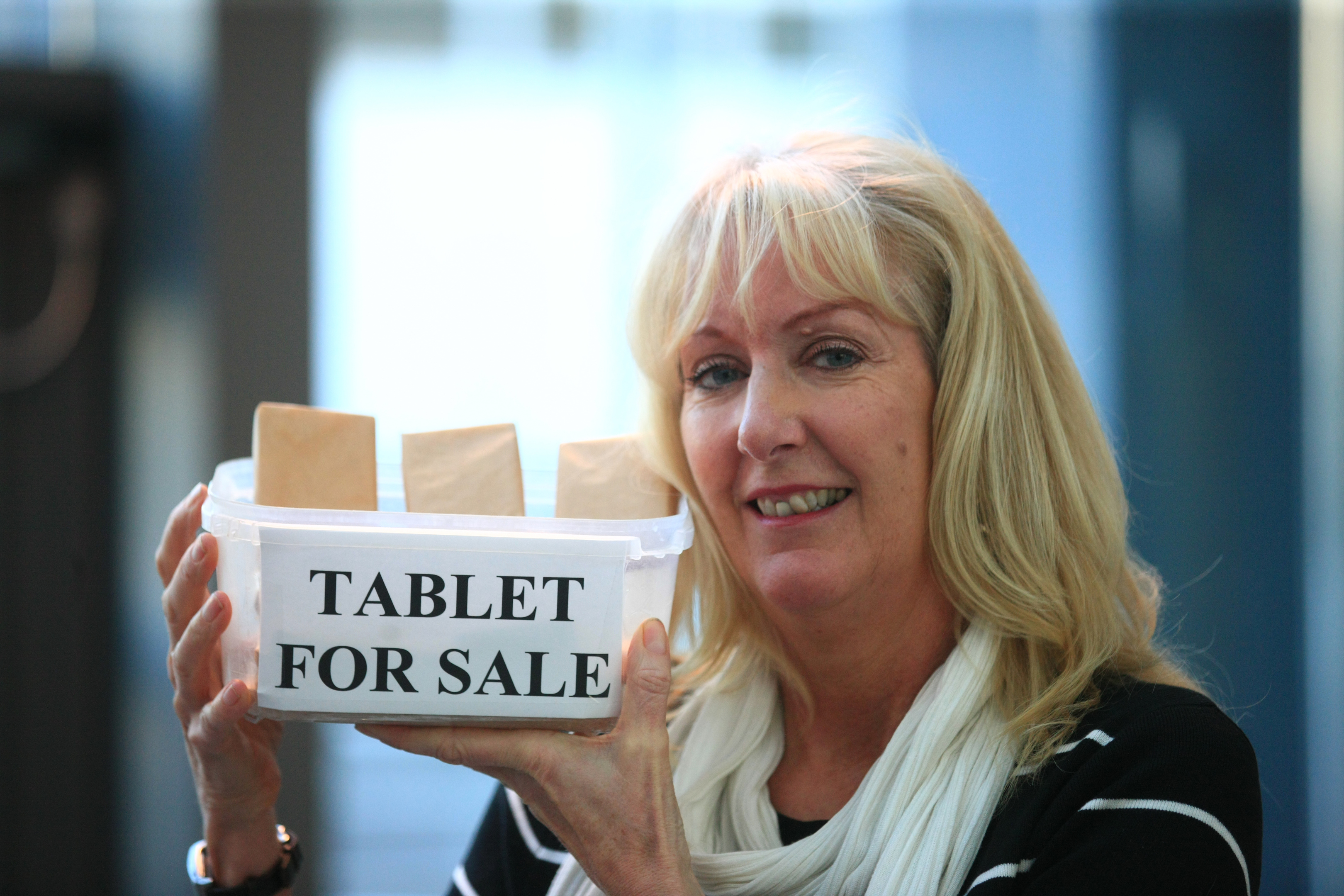 Fiona Edwards with some of her tablet.