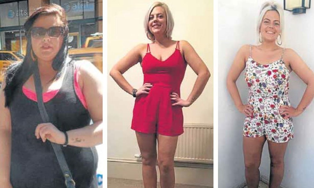Catrina Litzbarski, who has lost seven-and-a-half stone, before and after transforming her lifestyle.