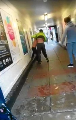 Grabs from a video posted to Facebook by Charlene Duncan shows a fight taking place in the centre of Dundee's shopping area.