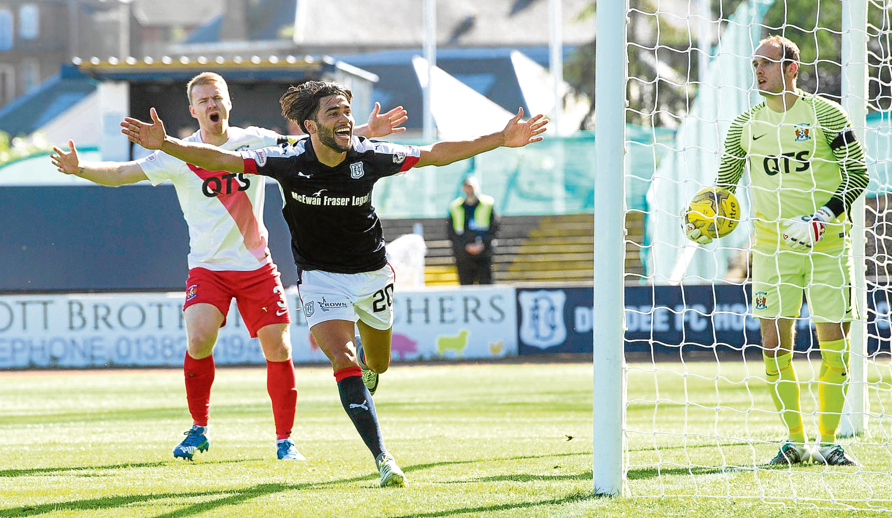 Faissal El Bakhtaoui celebrates scoring for Dundee the last time Kilmarnock visited Dens in September. The game finished 1-1.