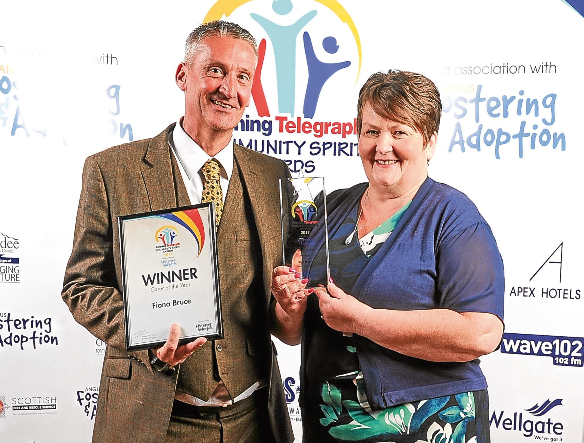 Carer of the Year Award winner Fiona Bruce with her husband Dave