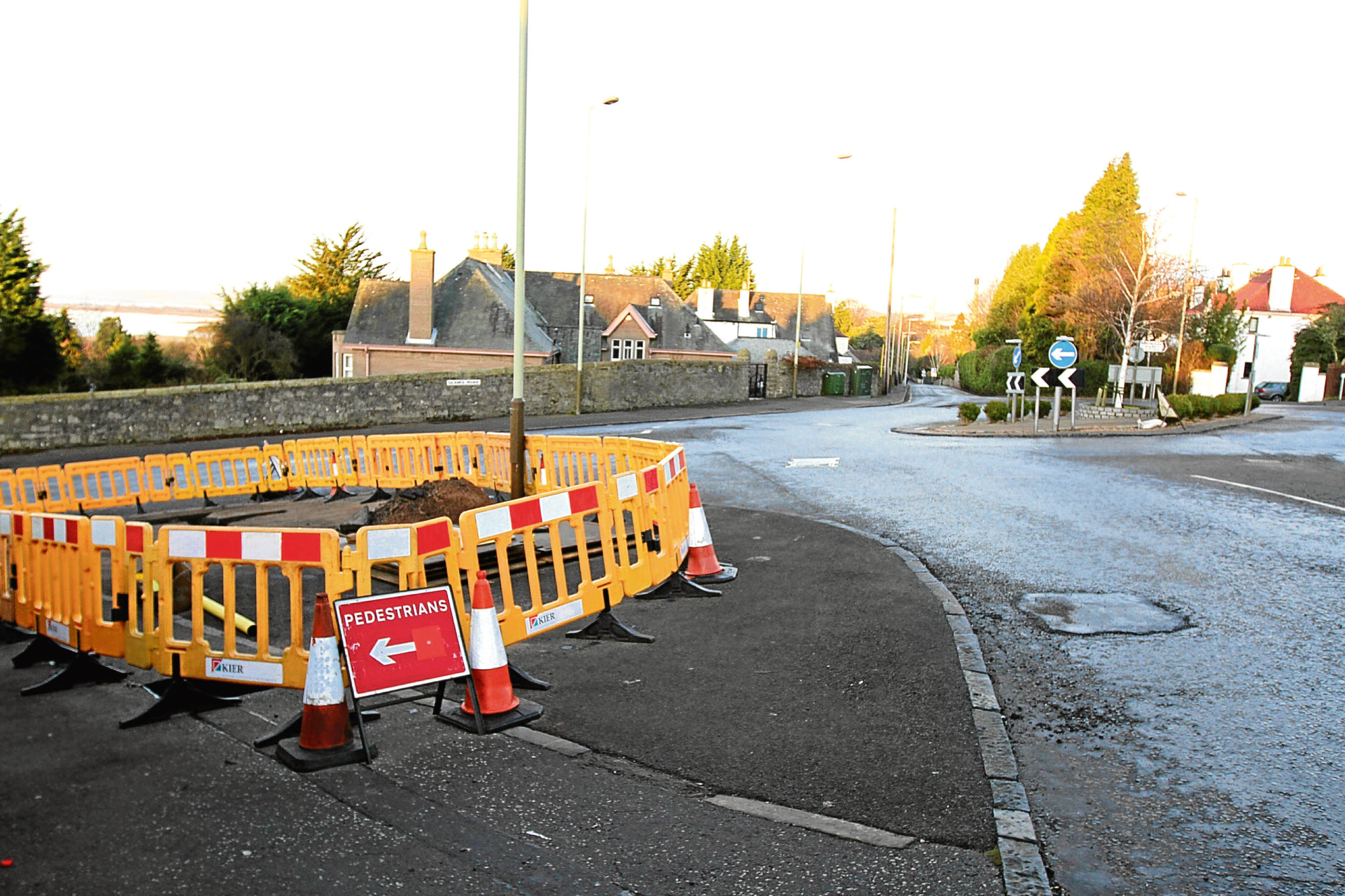 Roadworks at the junction of Glamis Road and Blackness Road.