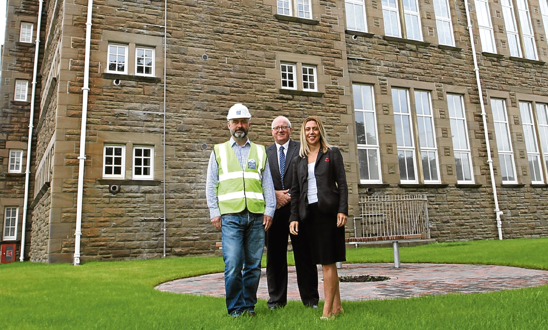 Paul Millan, director of property sales George Solley and Thorntons' new homes manager Toria Jones at the project site last year.