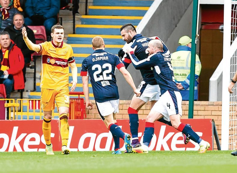 James Vincent celebrates with Marcus Haber after the latter had scored against Motherwell.