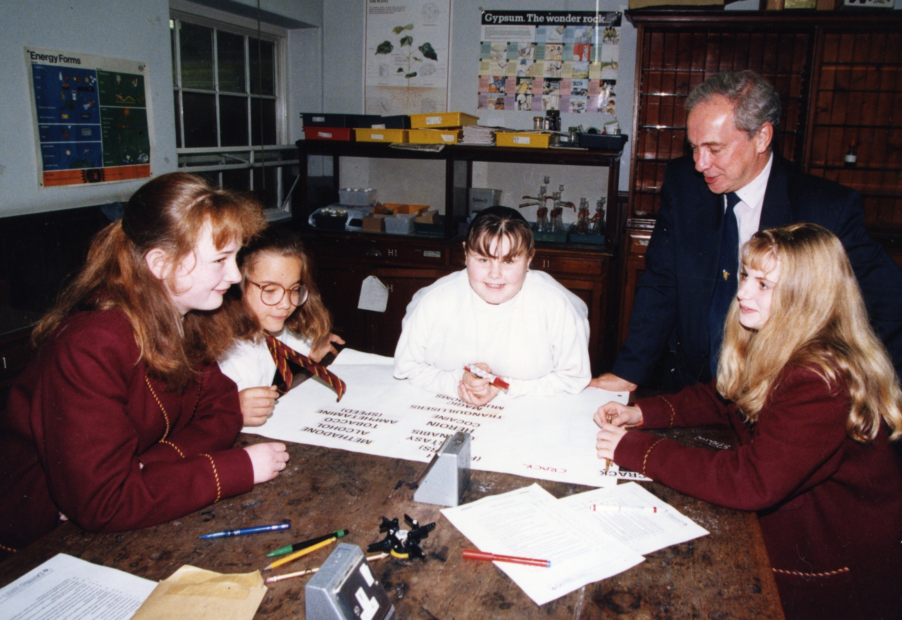 Rector Mr Andrew Johnstone with a group of second year pupils in October 1994