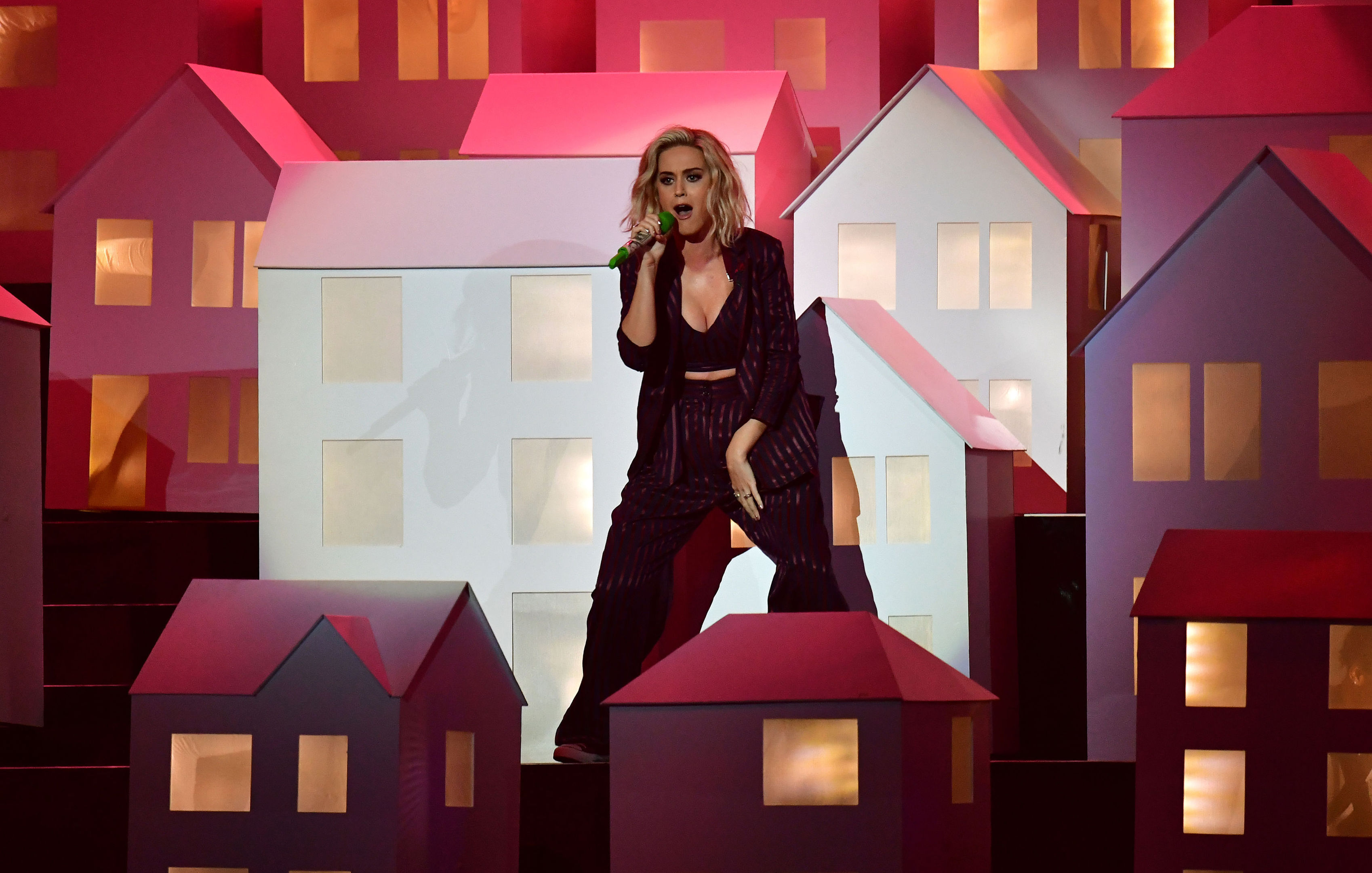 Katy Perry performing on stage at the Brit Awards