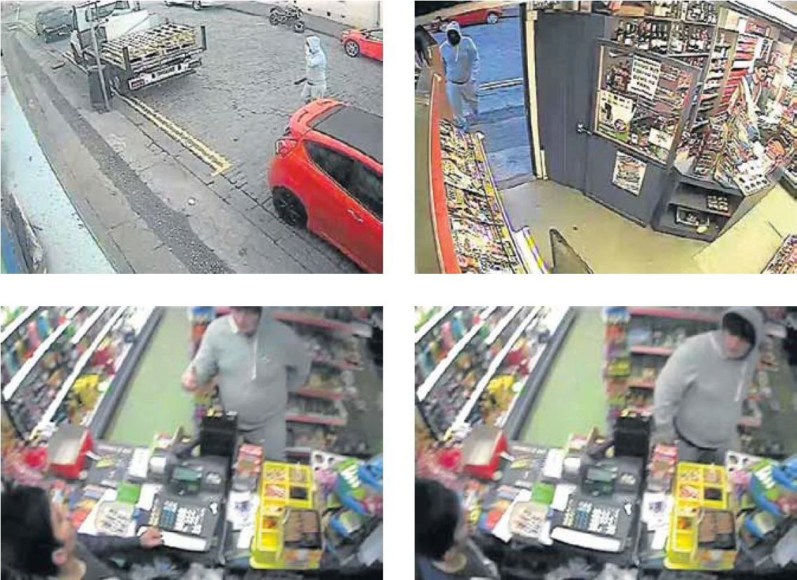 A sequence of CCTV images show Bruce Harper entering the shop carrying the machete and approaching Mr Kiyani.