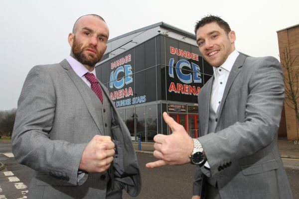Mhairi Edwards, Evening Telegraph, Marc Navarro and Darren Clark are hosting the first United Combat Championship fight night at Dundee Ice Arena. Picture shows; Marc Navarro, 29 and Darren Clark, 30 at the venue. Wednesday 1st February.