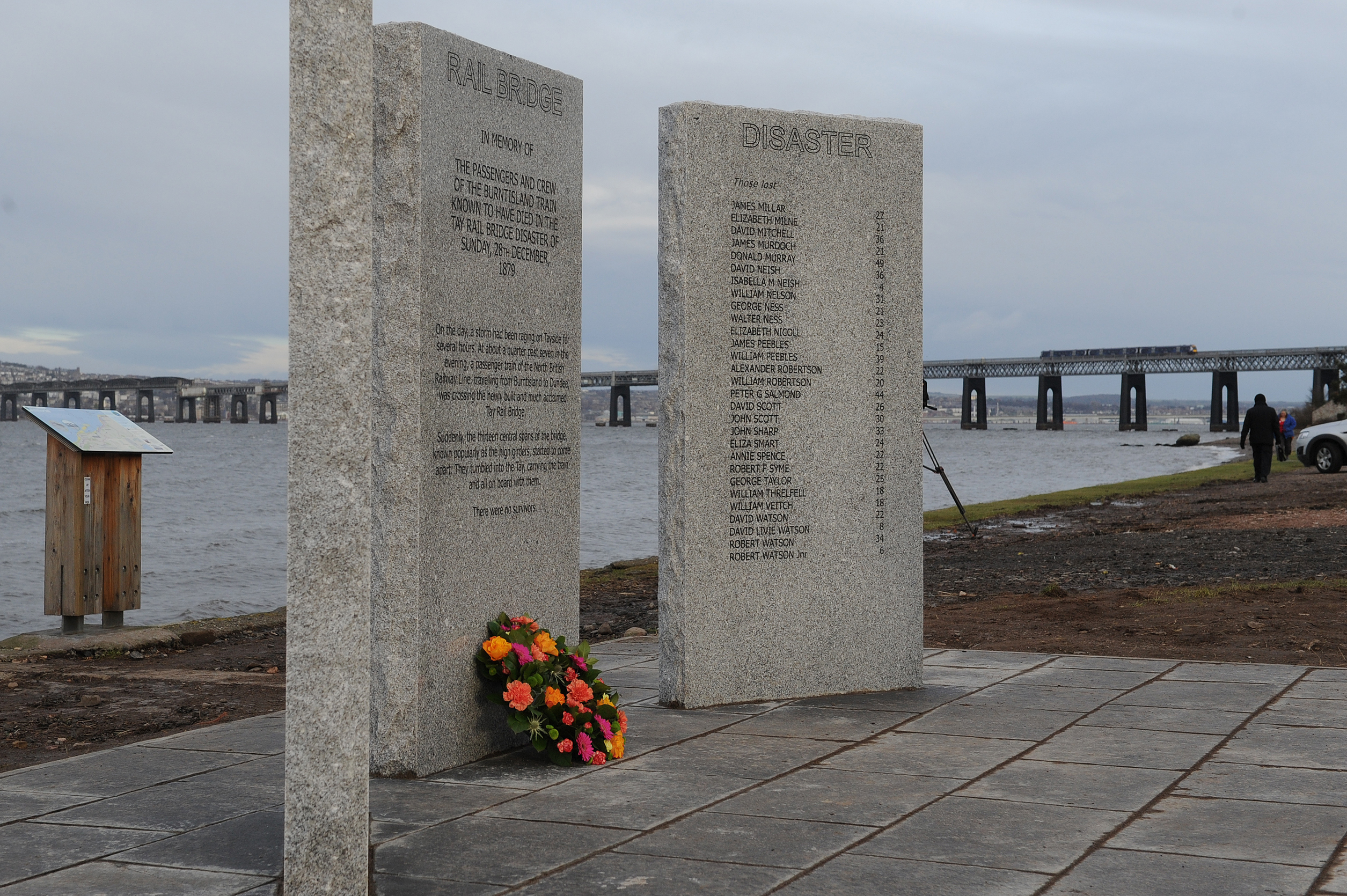 A memorial to the victims of the Tay Rail Bridge Disaster in Wormit. A similar memorial is across the river in Dundee.