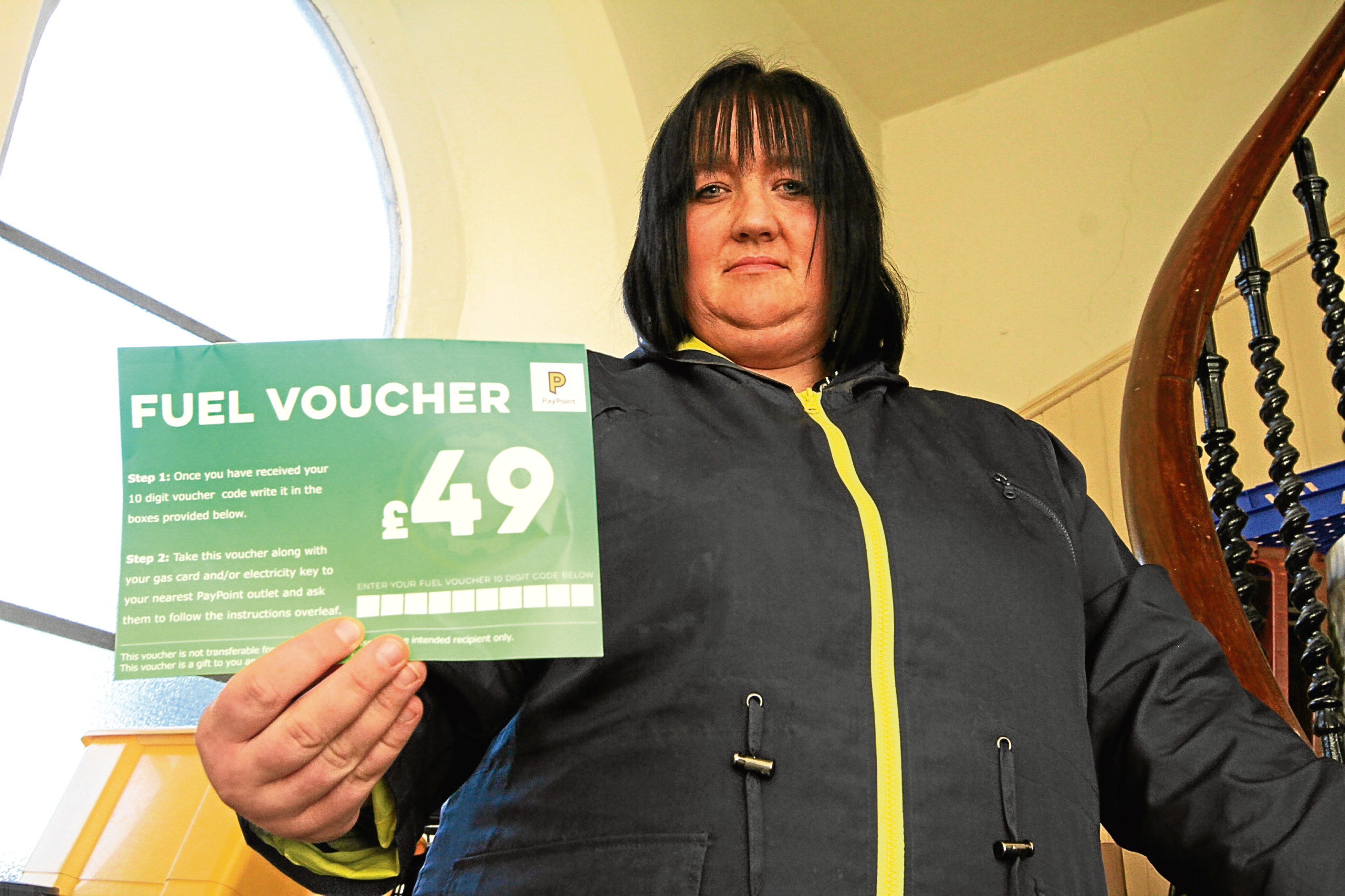 Sonya Petrie, 37, was given one of the last few fuel vouchers available at Dundee Foodbank.