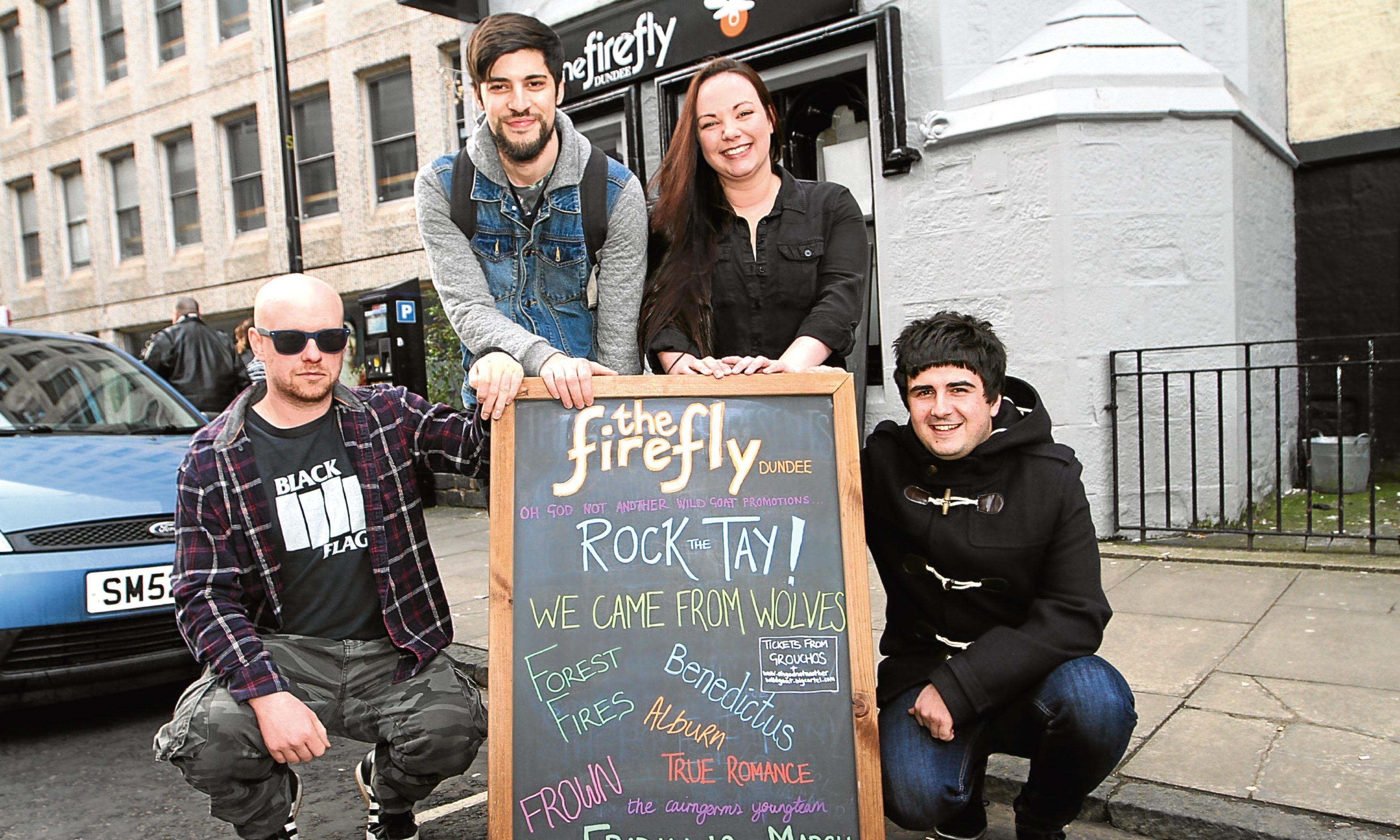 Pictured, from left, Sean Cairns, of The Cairngorms Youngteam, promoter Andy Mcdonald, owner of Firefly Roseanne Crowe and musician Owen Bryce.