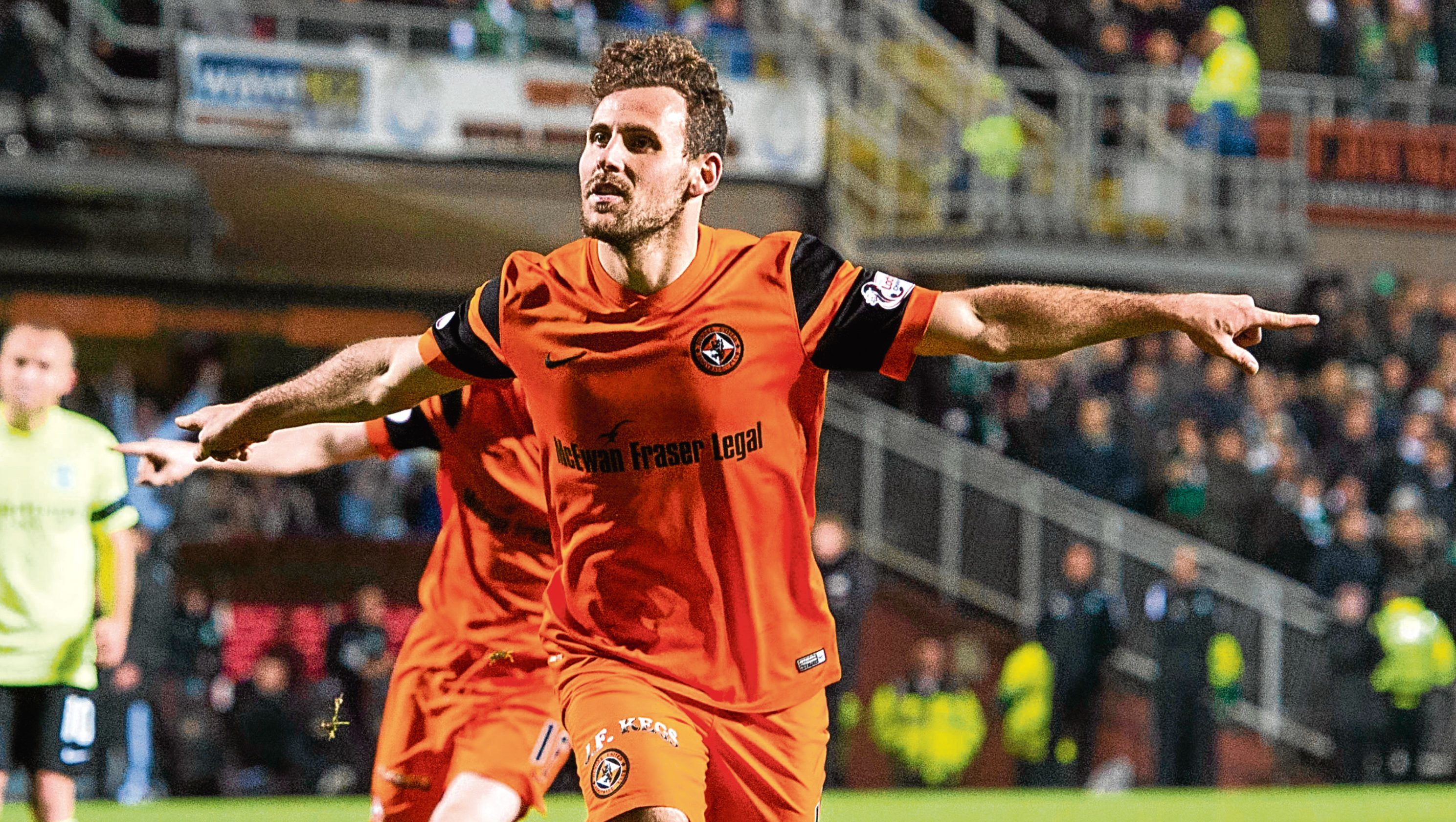 Tony Andreu celebrates scoring from the spot against Hibs back in December at Tannadice.