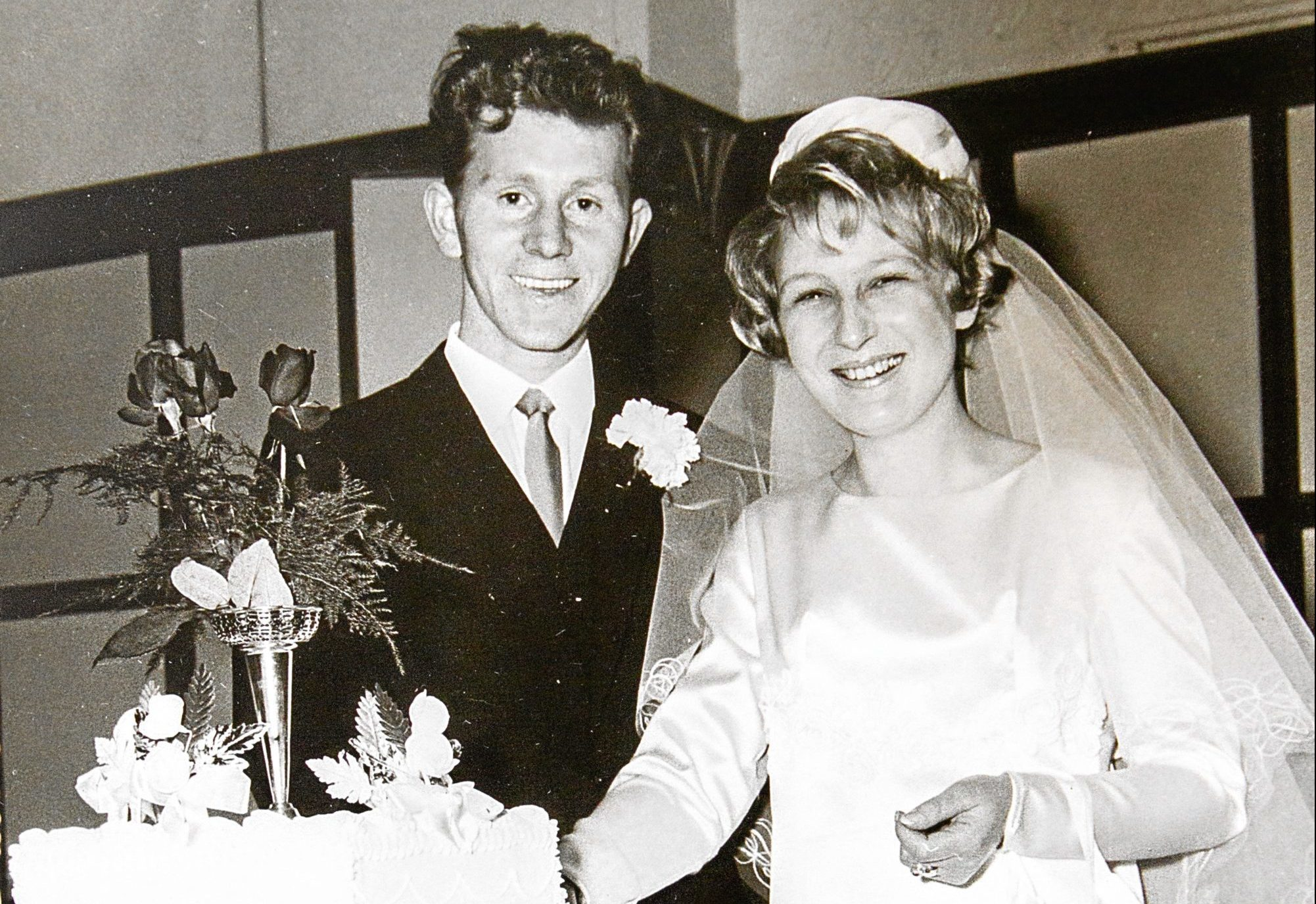 Jimmy Spink and wife Phylis Spink on their wedding day 50 years ago