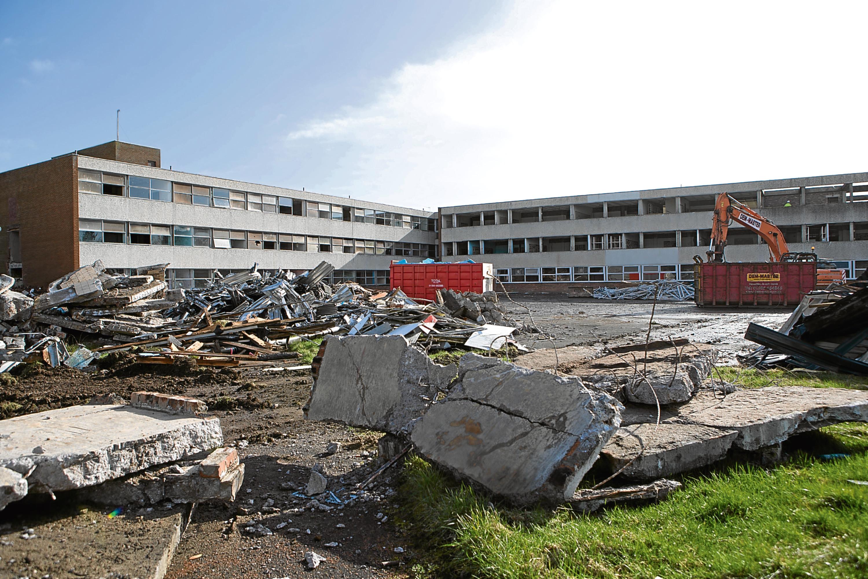 Demolition in progress of the former Menzieshill High School