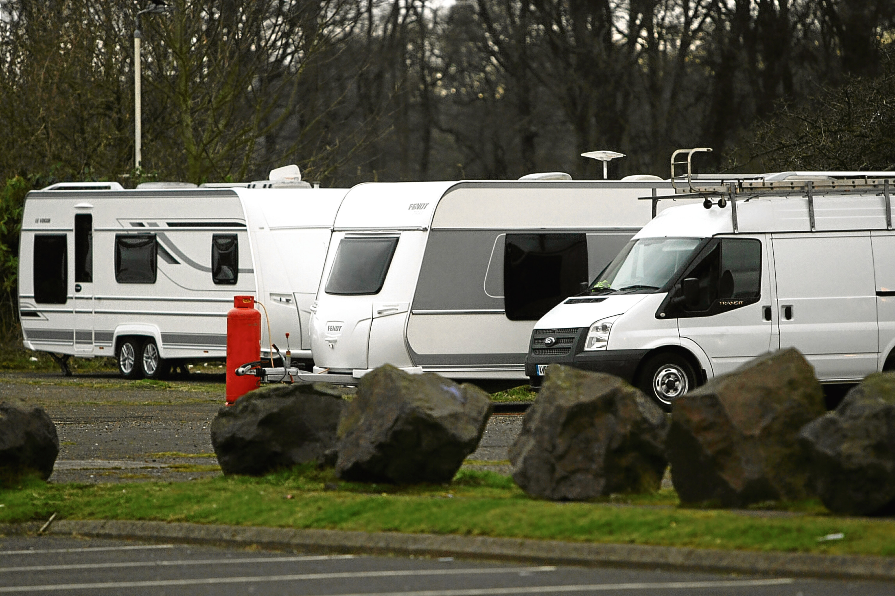 The Travellers parked up near the Dundee Ice Arena yesterday