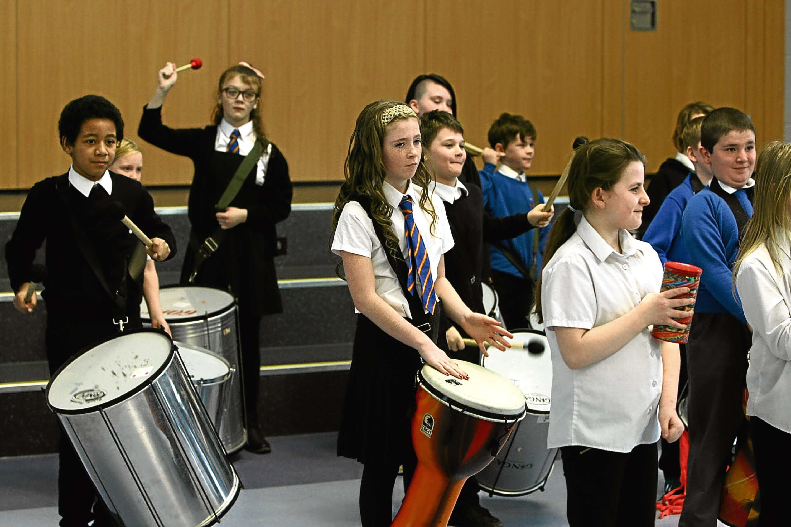 The P6 Samba Band performing at the opening of the new Sidlaw View Primary School yesterday