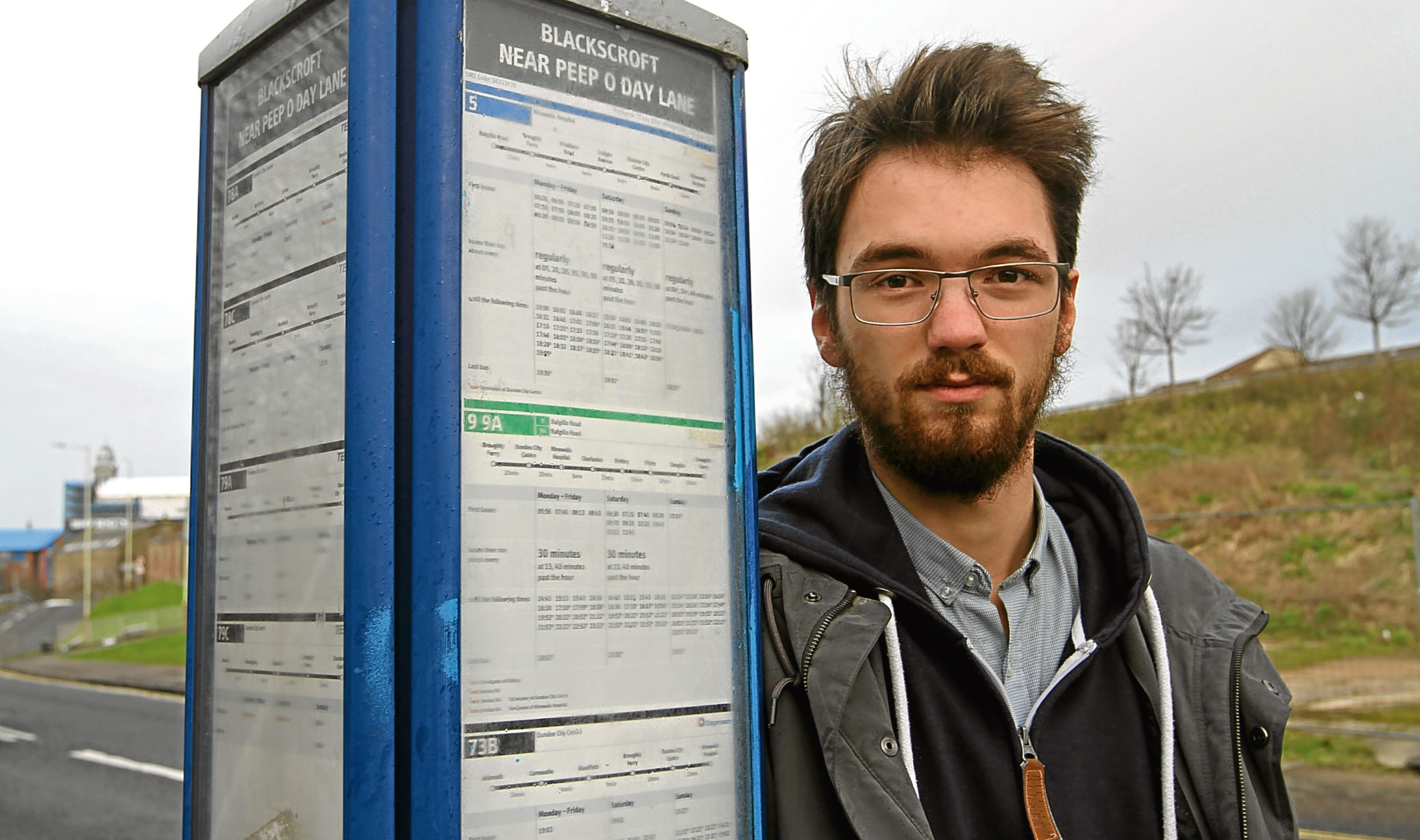 Connor Beaton, 21 took it upon himself to clean up graffiti from a bus stop on Blackscroft near Peep'o'day Lane