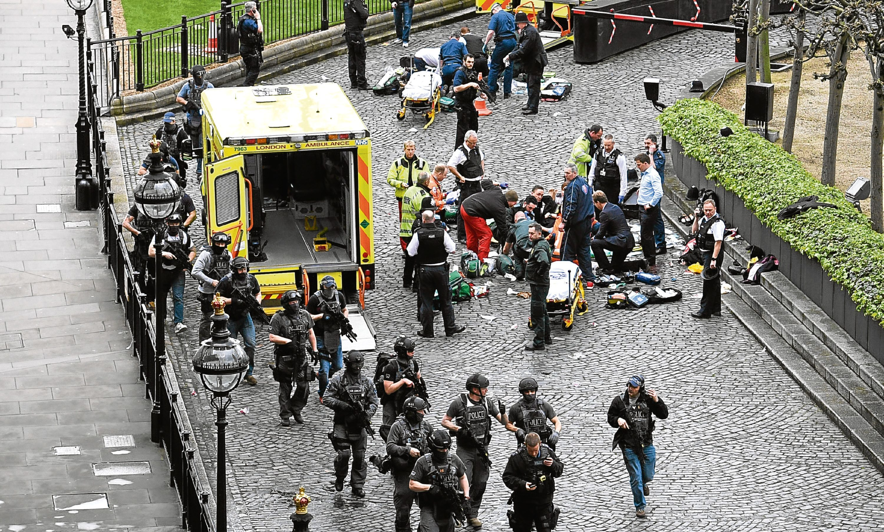 Emergency services at the scene of Wednesday terror attack, which made headlines across the world