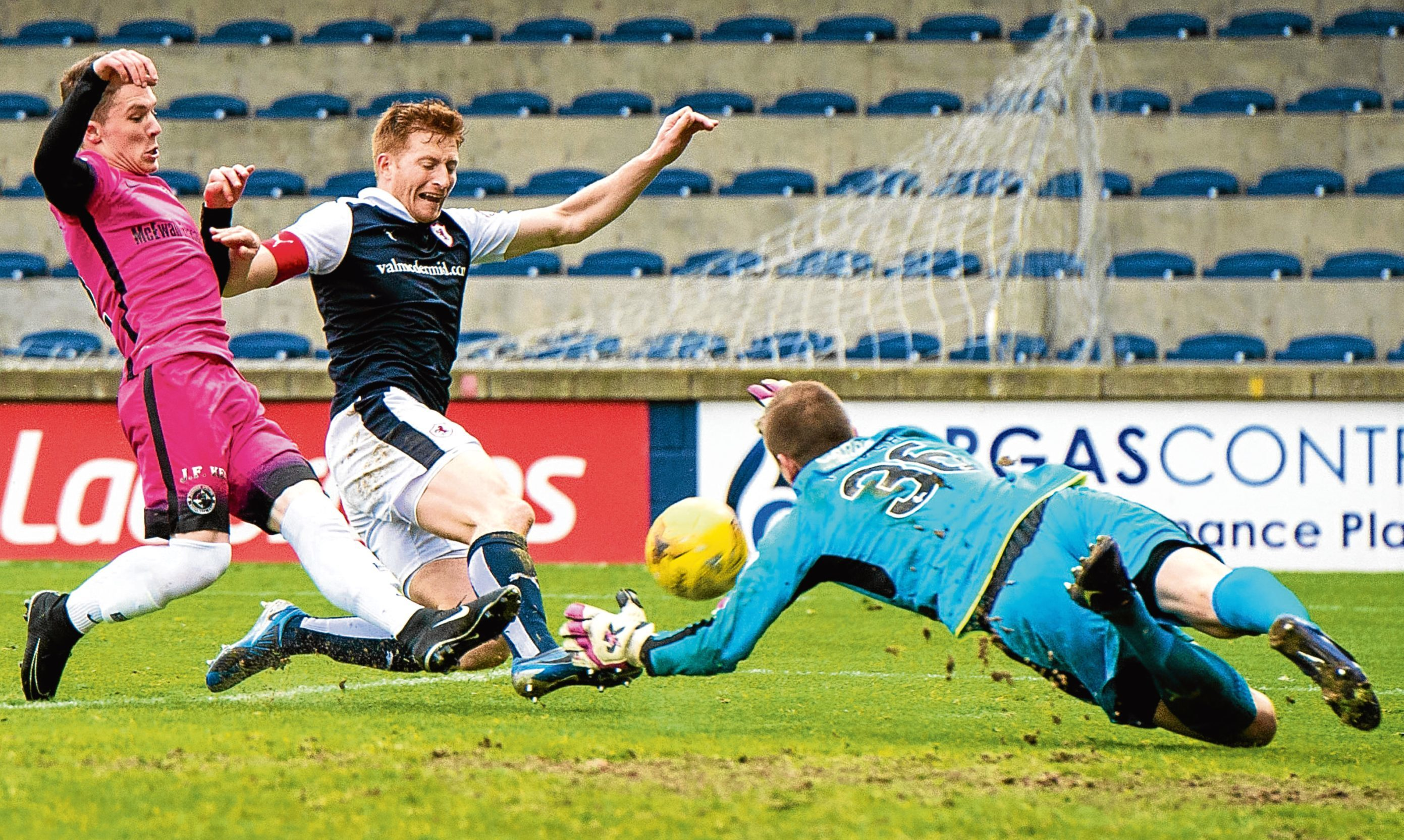 Coote comes agonisingly close to squaring the game during Dundee United's 2-1 defeat by Raith Rovers last weekend