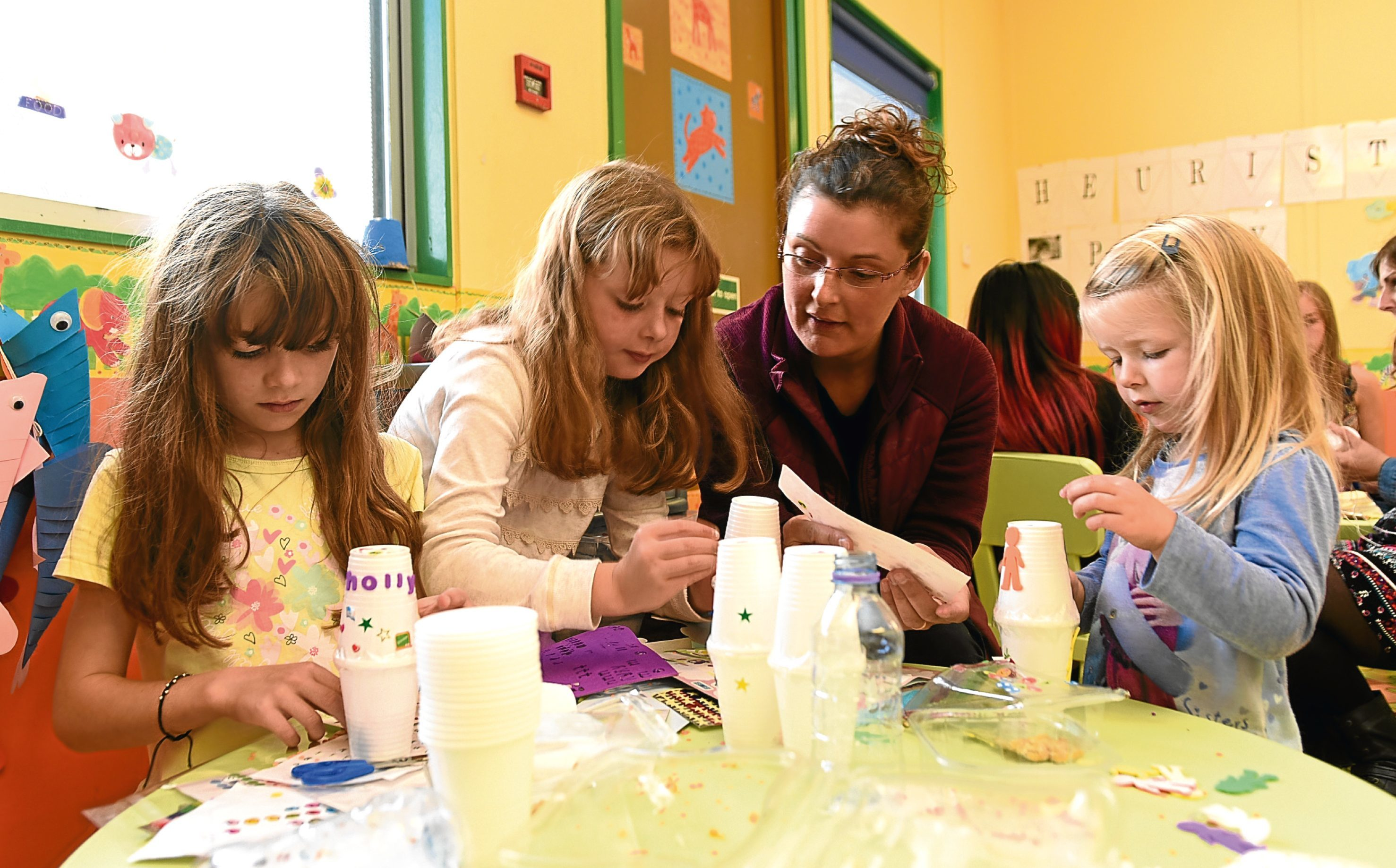 Pictured, left to right, Holly, Libby, Gillian and Poppy Carroll enjoying some crafts at Community Services Complex, Whitfield Drive, last summer