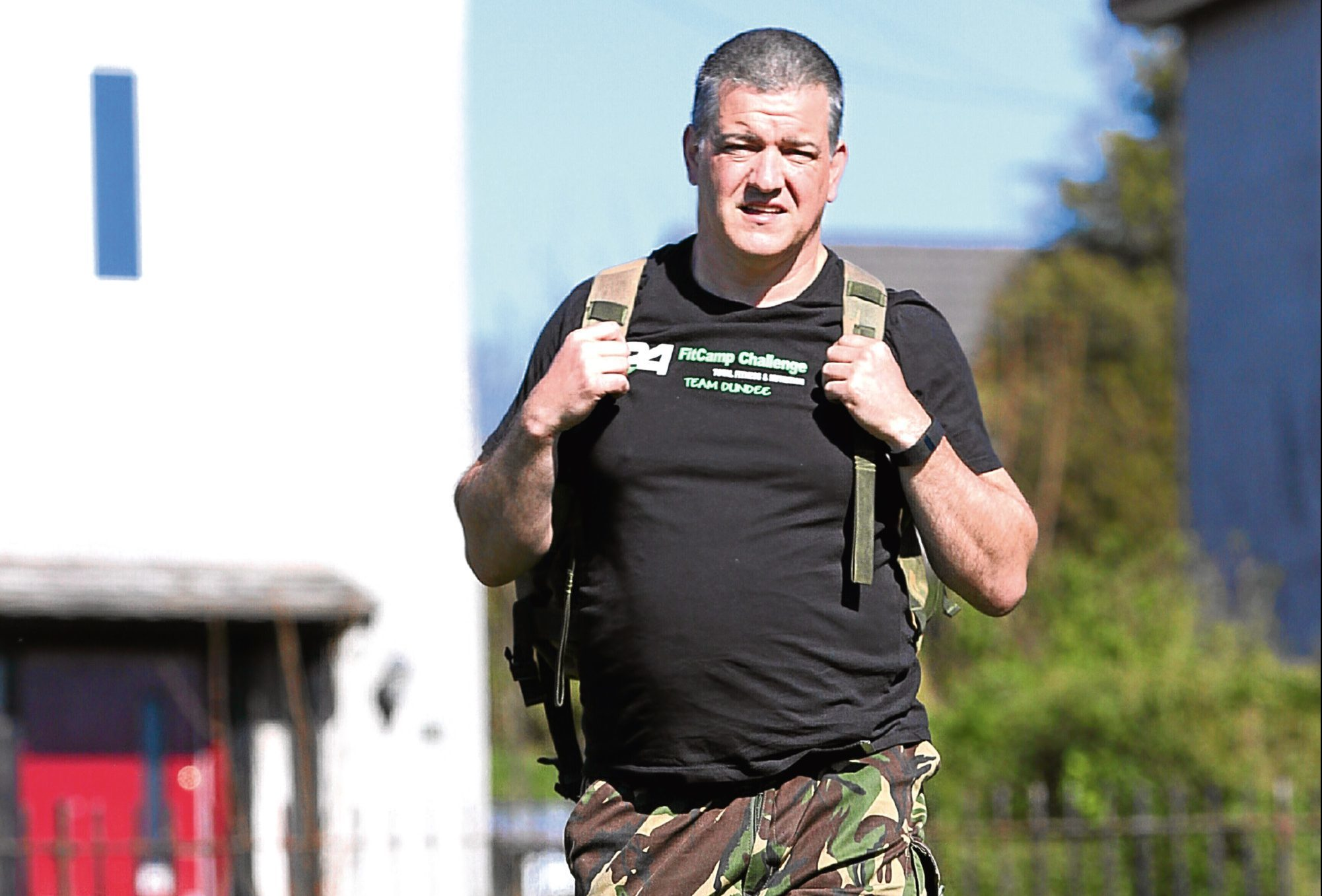 Ian Davidson, 54, out training near his home in Dryburgh Cresent, Dundee