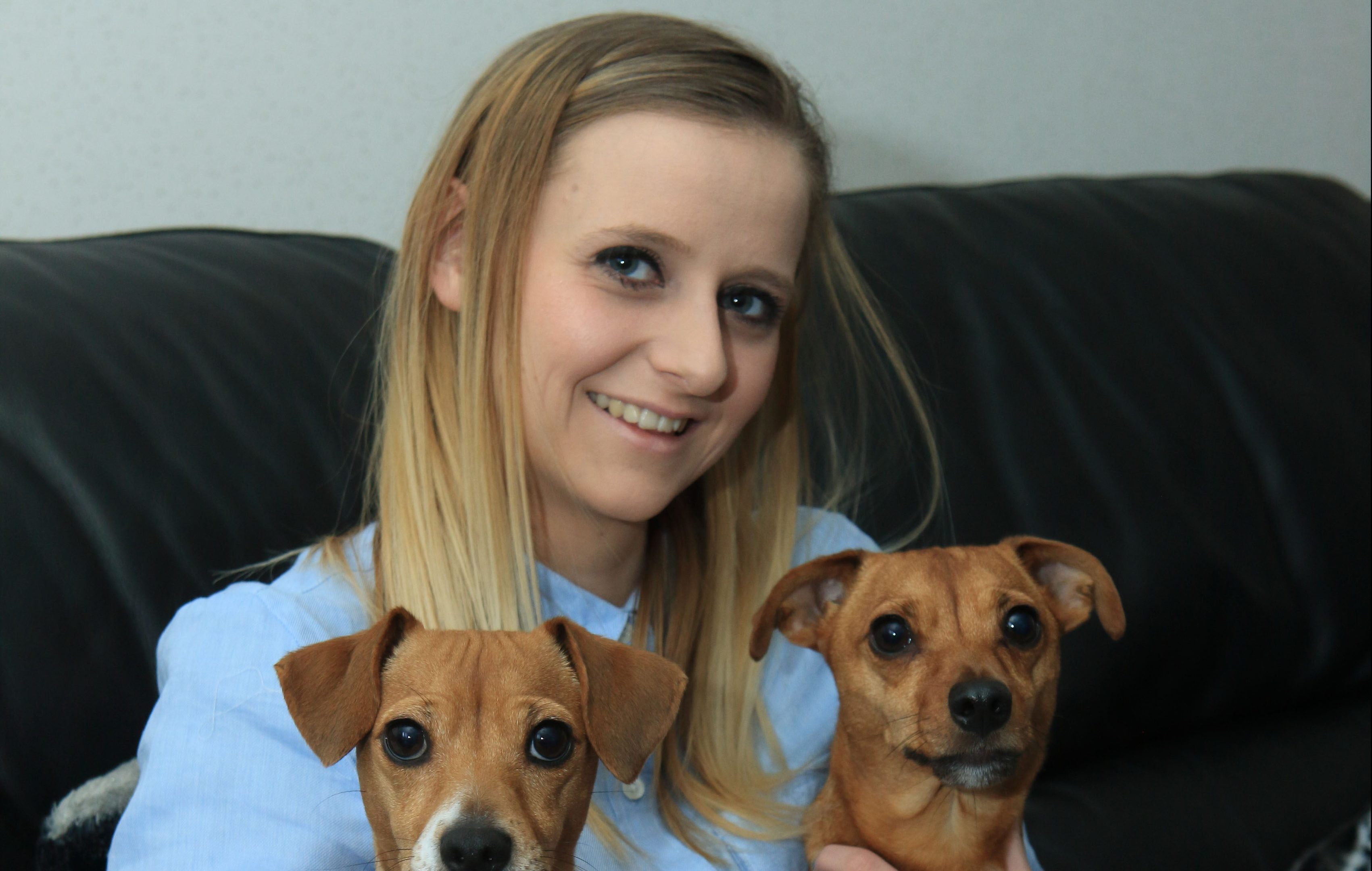 Bethan Murie with her dogs Meeko and Kizzie