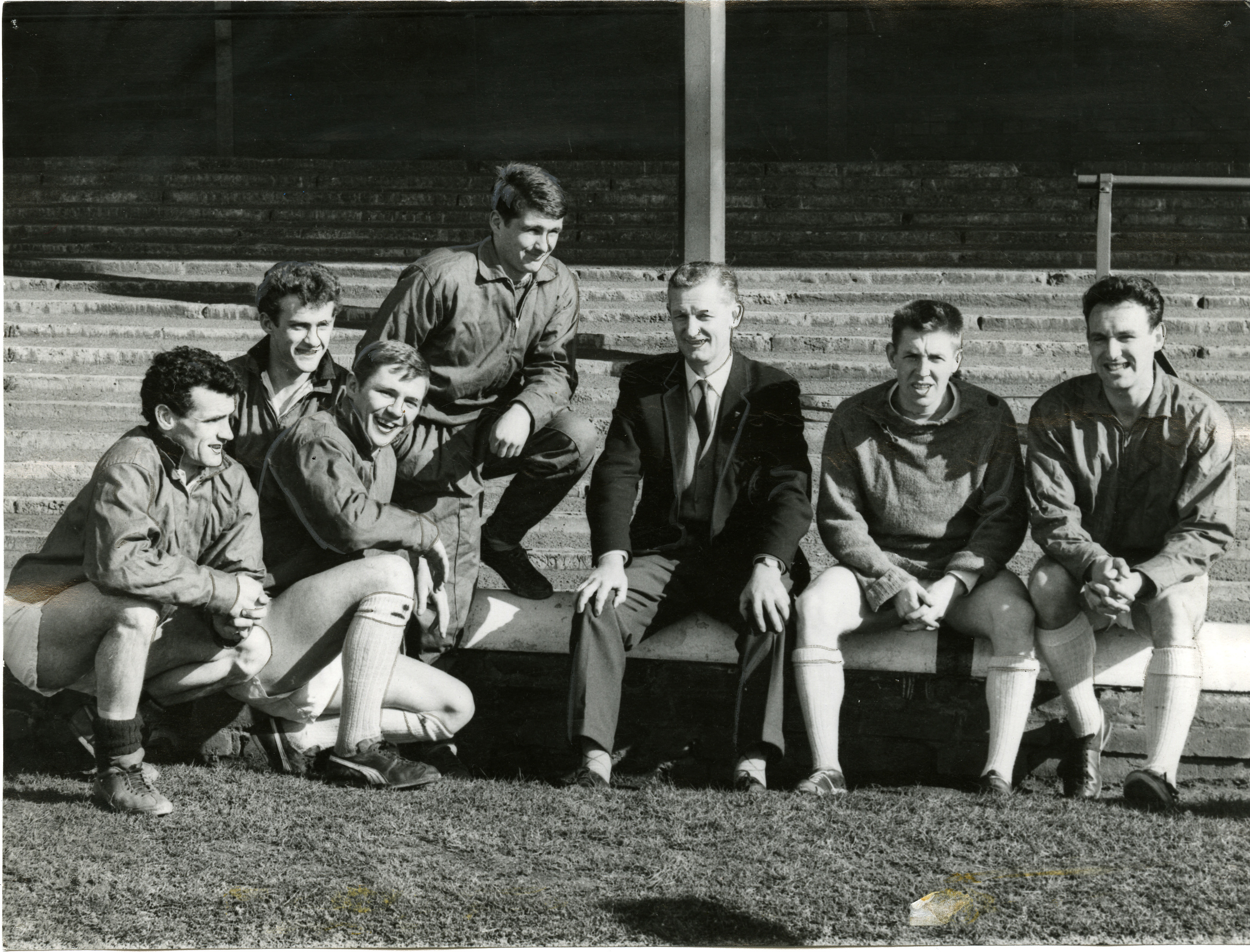 It's 1965 and new Dundee manager Bobby Ancell meets with some of the Dens players for the first time. From left — Bobby Cox, Andy Penman, Jim Easton, Charlie Cooke, Alex Hamilton and Bobby Seith.