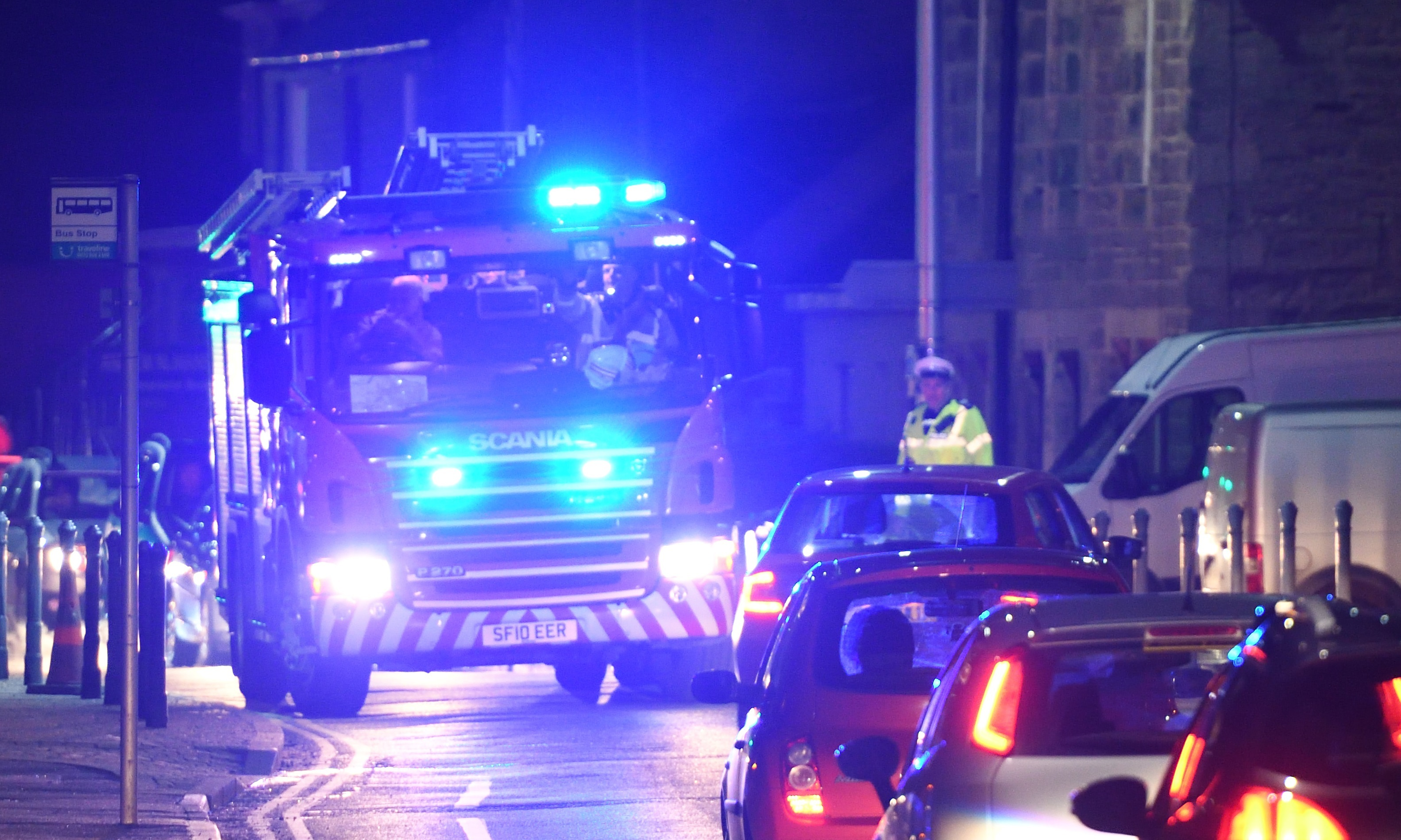 Firefighters on their way to the crash. Picture by Stuart Cowper