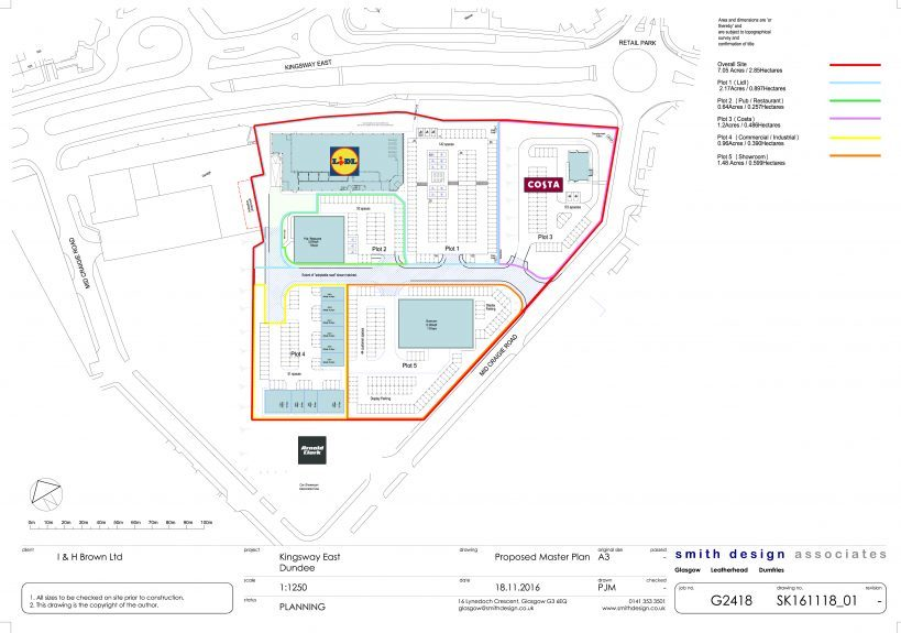 A map of the proposed development showing the location of Lidl and Costa.