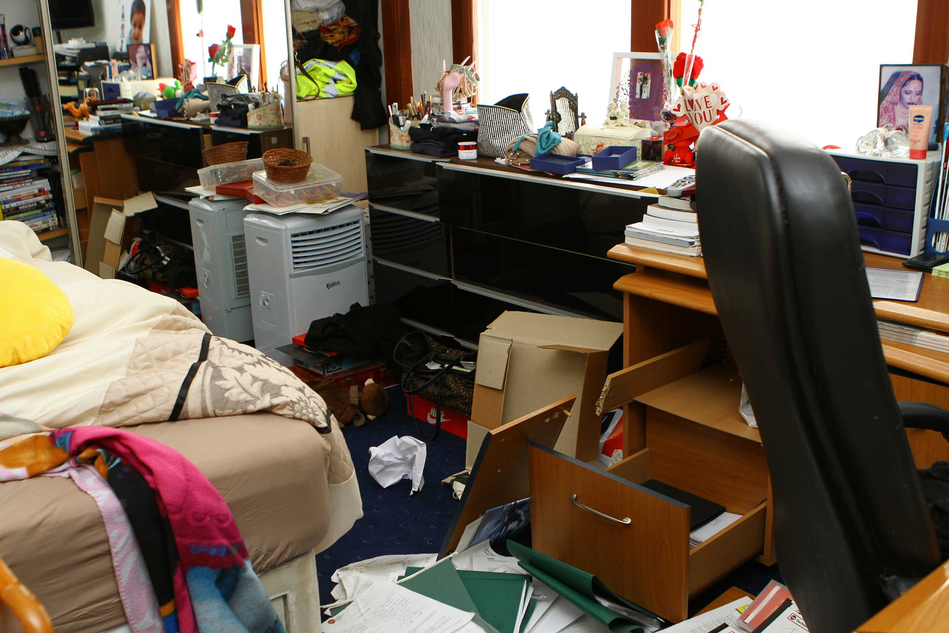 The mess in the bedroom in the aftermath of the robbery at the house in Old Glamis Road