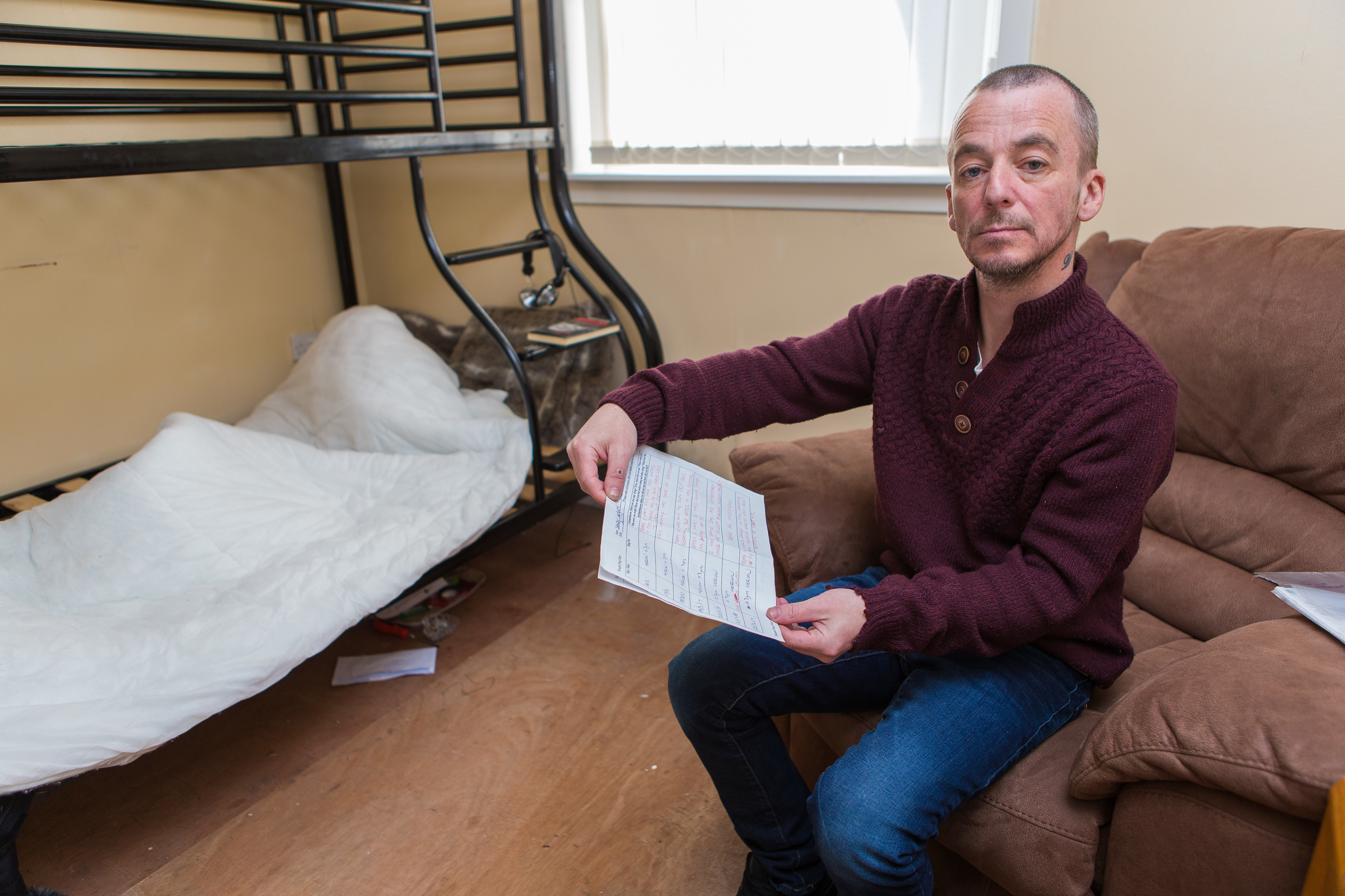 Drug user Sandy Leaburn (47) at home in Hilltown with his drug diary of seven weeks
