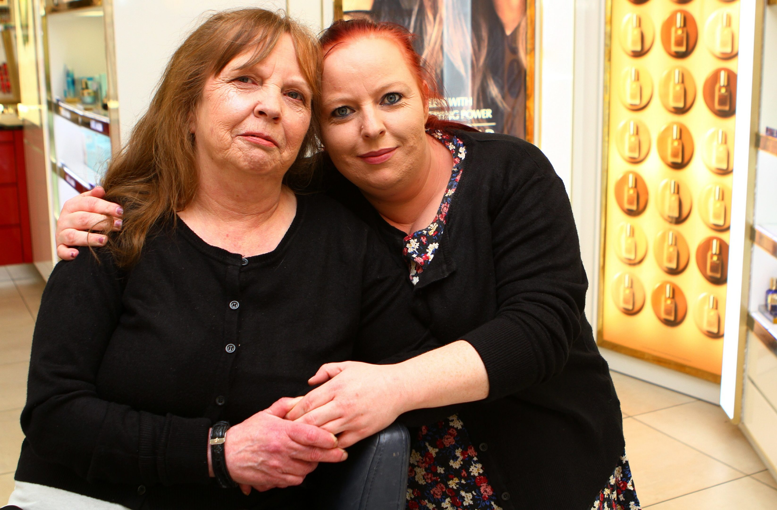 Valerie Mitchell, left, with her daughter Wendy after her Mother's Day pampering session