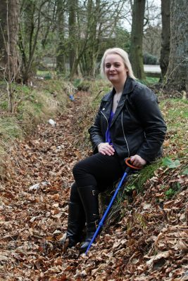Mhairi Edwards, Evening Telegraph, Leigh-Ann Williamson has waivered her anonymity over an assault which happened 27 years ago in Camperdown Park. Picture shows; Leigh-Ann Williamson, 38 in the ditch where she woke up after the attack. Thursday 23rd March.